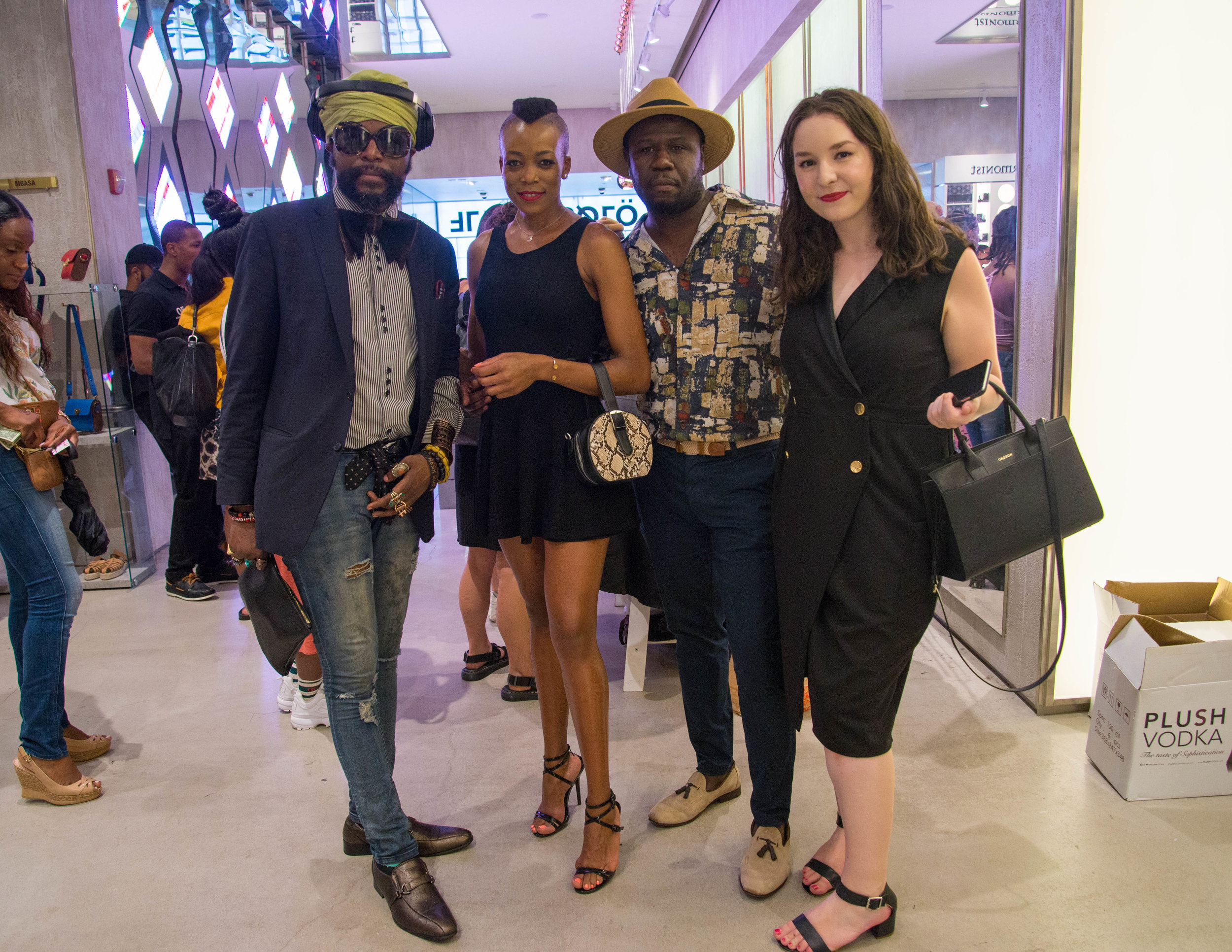 (L-R) Resk'Que director, branding strategist, Same, model, DezFit fashion photographer, Evangeline, writer