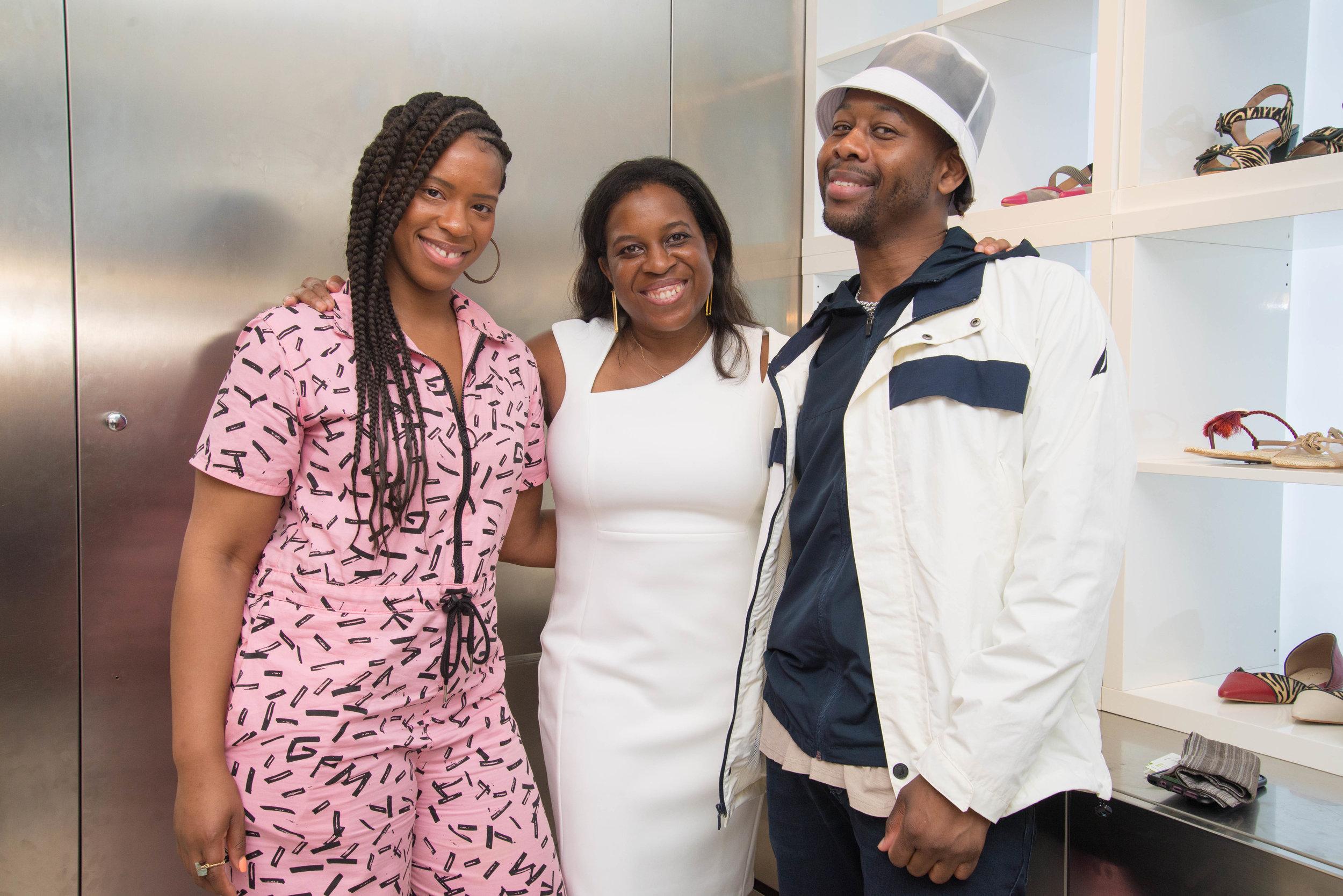 (L-R) Ola producer/stylist, Designer of Emme Cadeau, Avon Dorsey editor