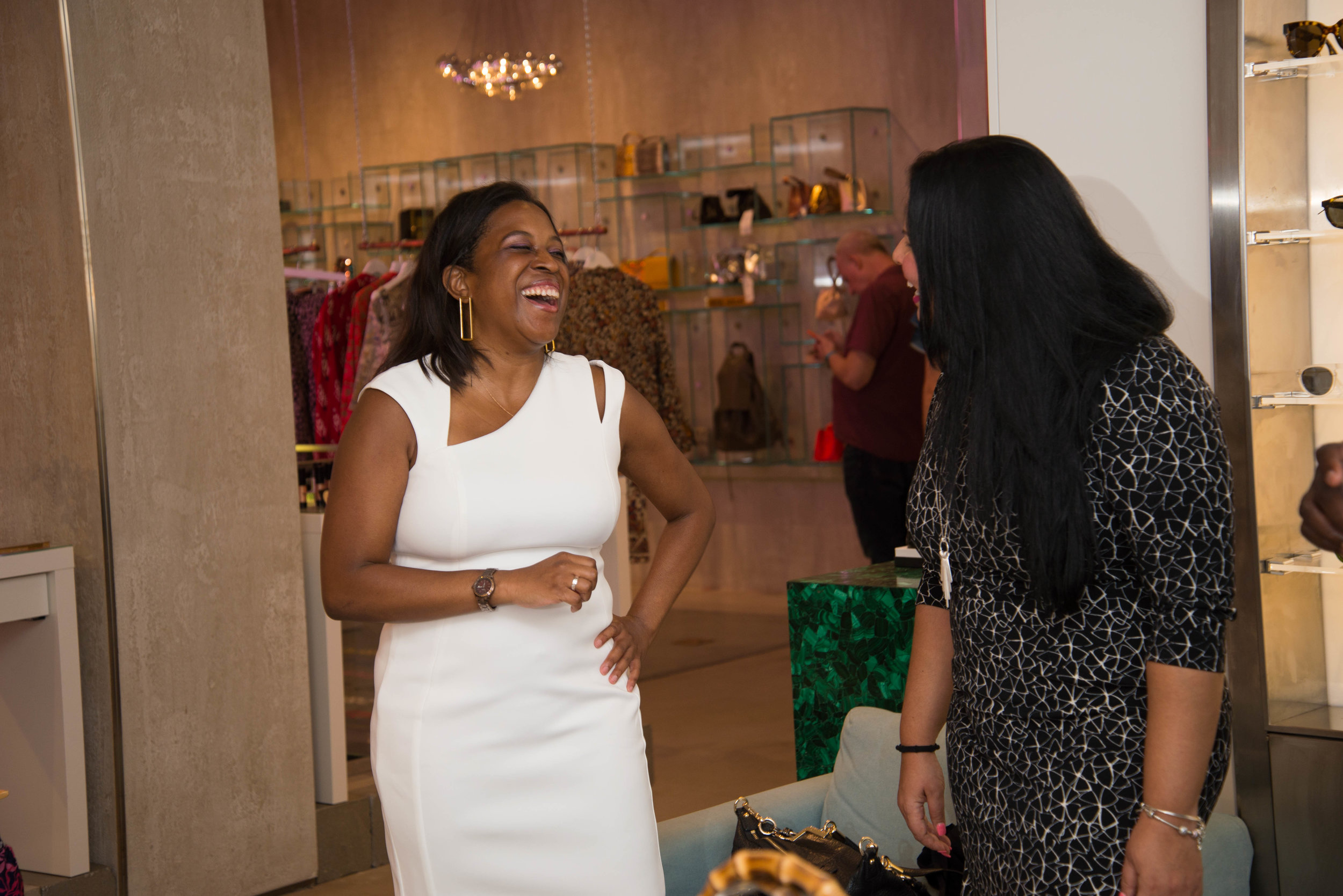 (L-R) Designer of Emme Cadeau and Attendee