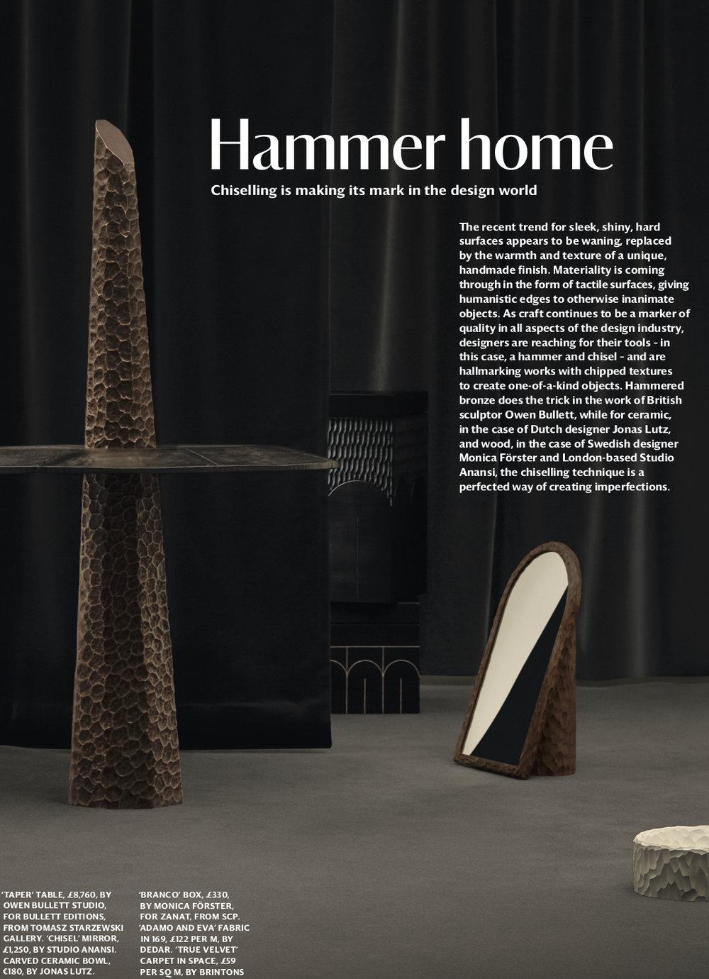 Taper Table Featured In Wallpaper Magazine April 2019 Owen Bullett Studio