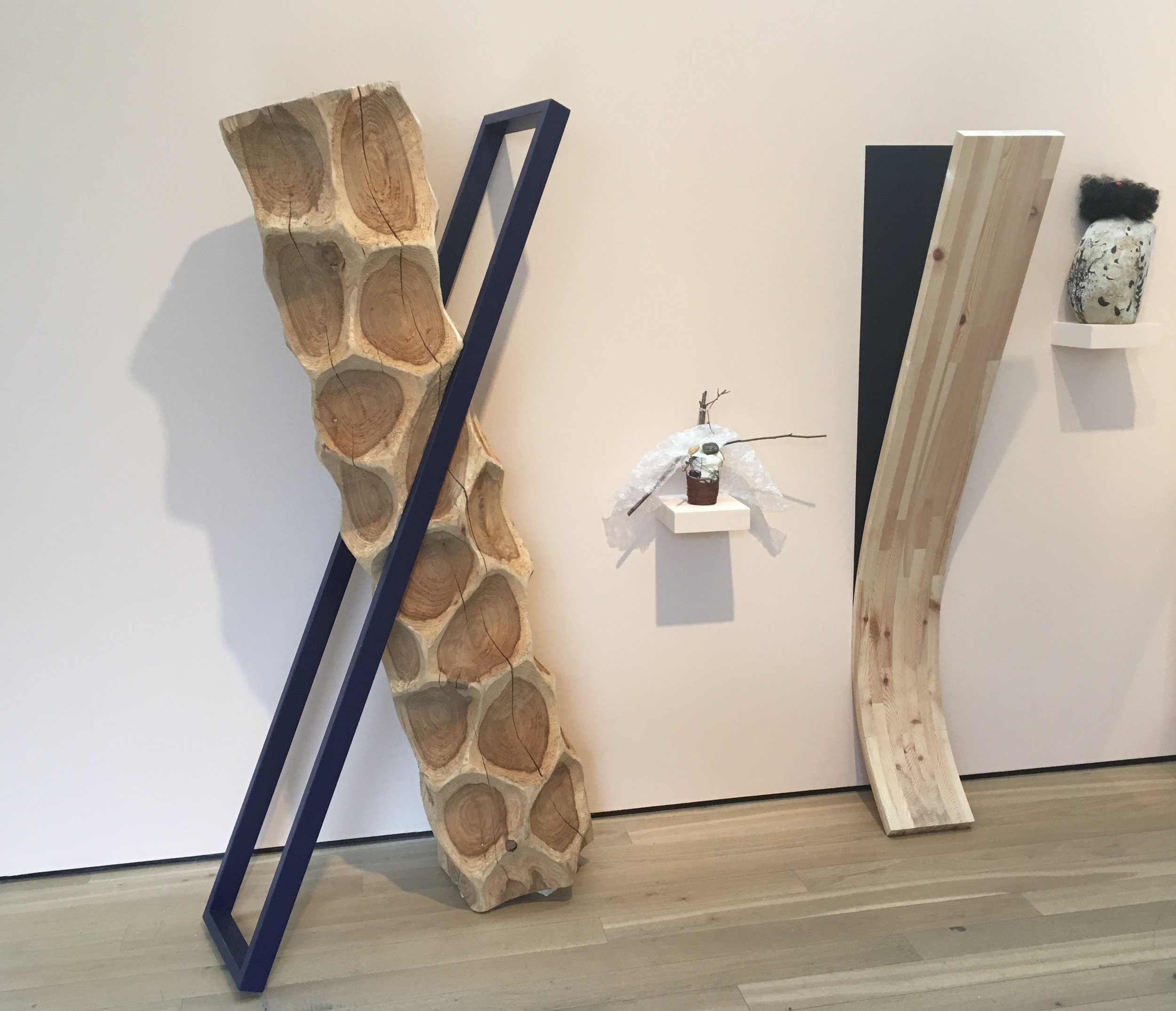 LEFT: 'Divided Self', Cedar & painted steel  RIGHT: 'Imprint', Pine & paint