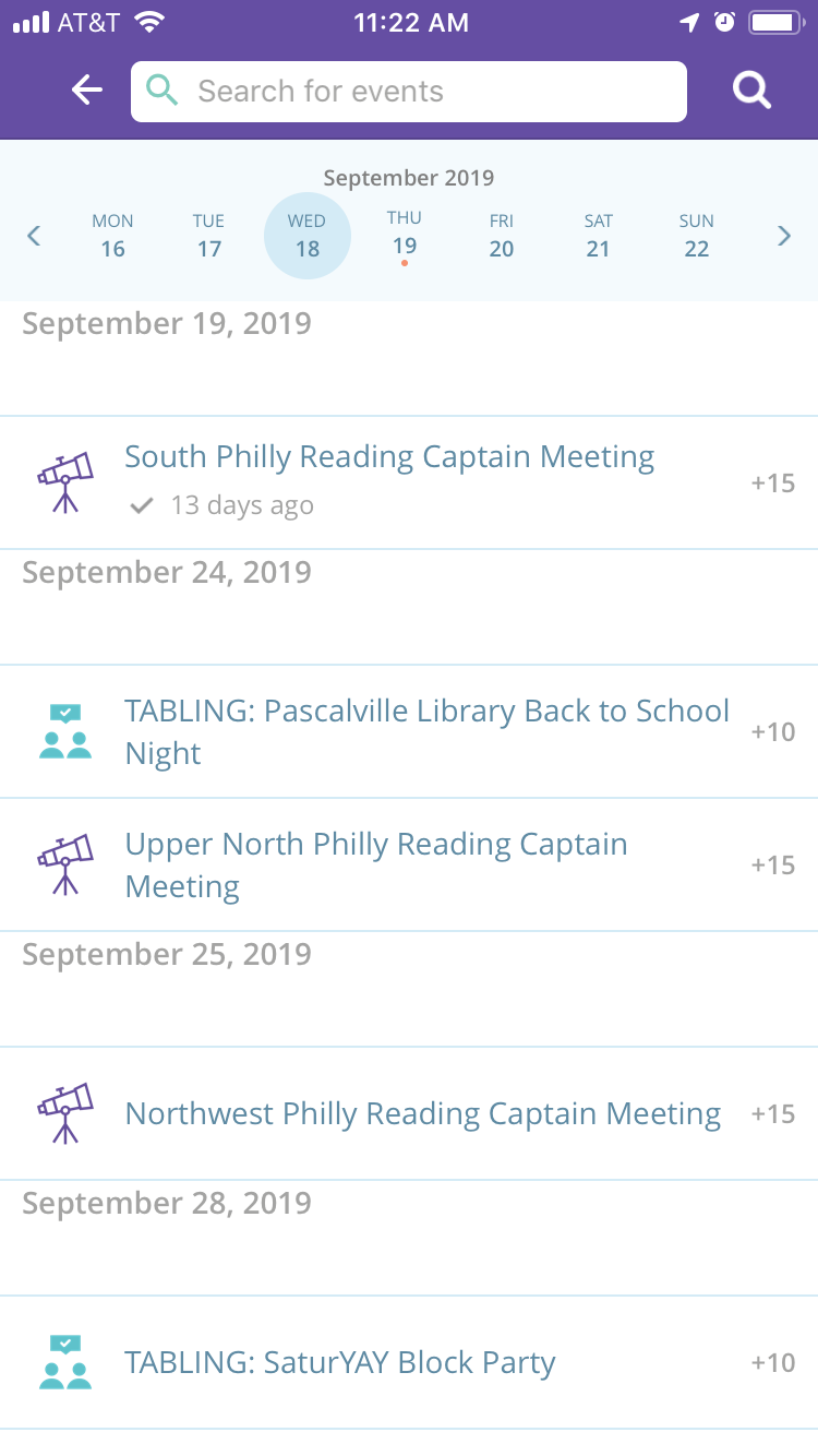 Event calendar view - All events will appear on the event calendar, users can scroll through to find events that interest them. Categories help users better identify events that would be interesting to them.