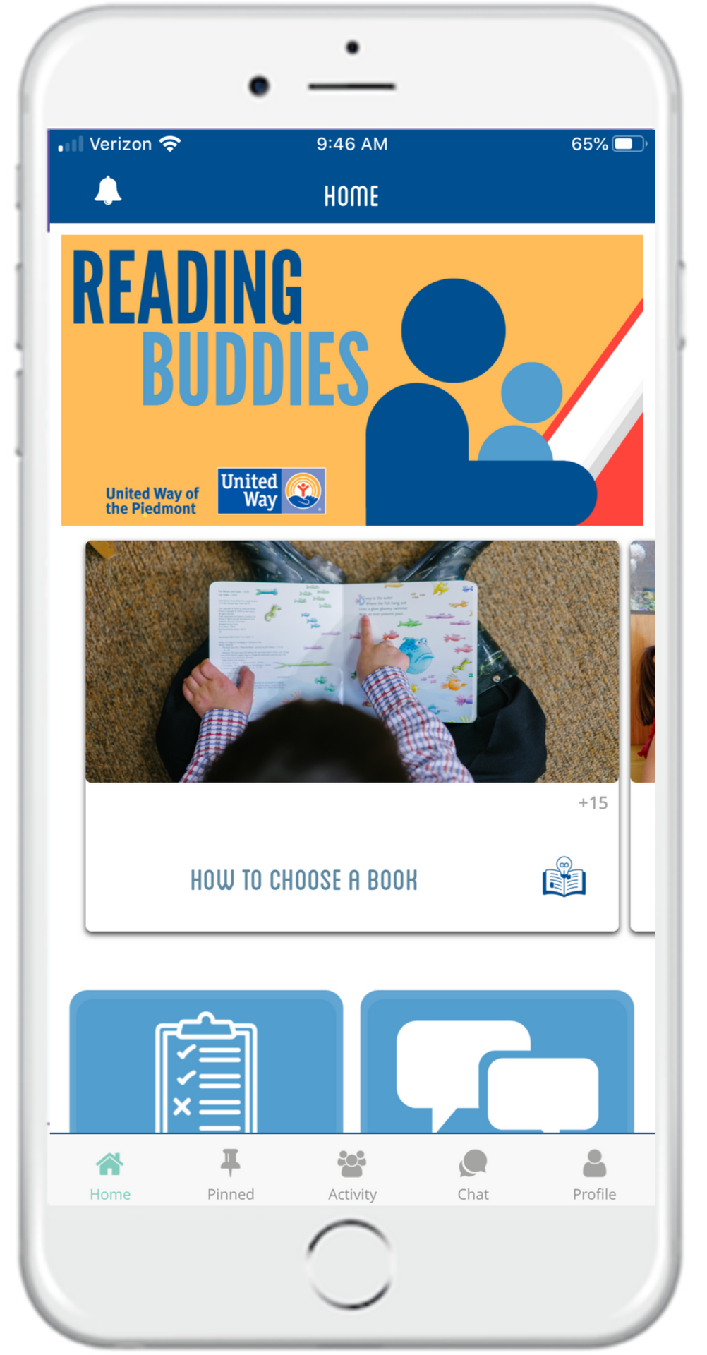 Reading Buddies home page: easy to navigate for users
