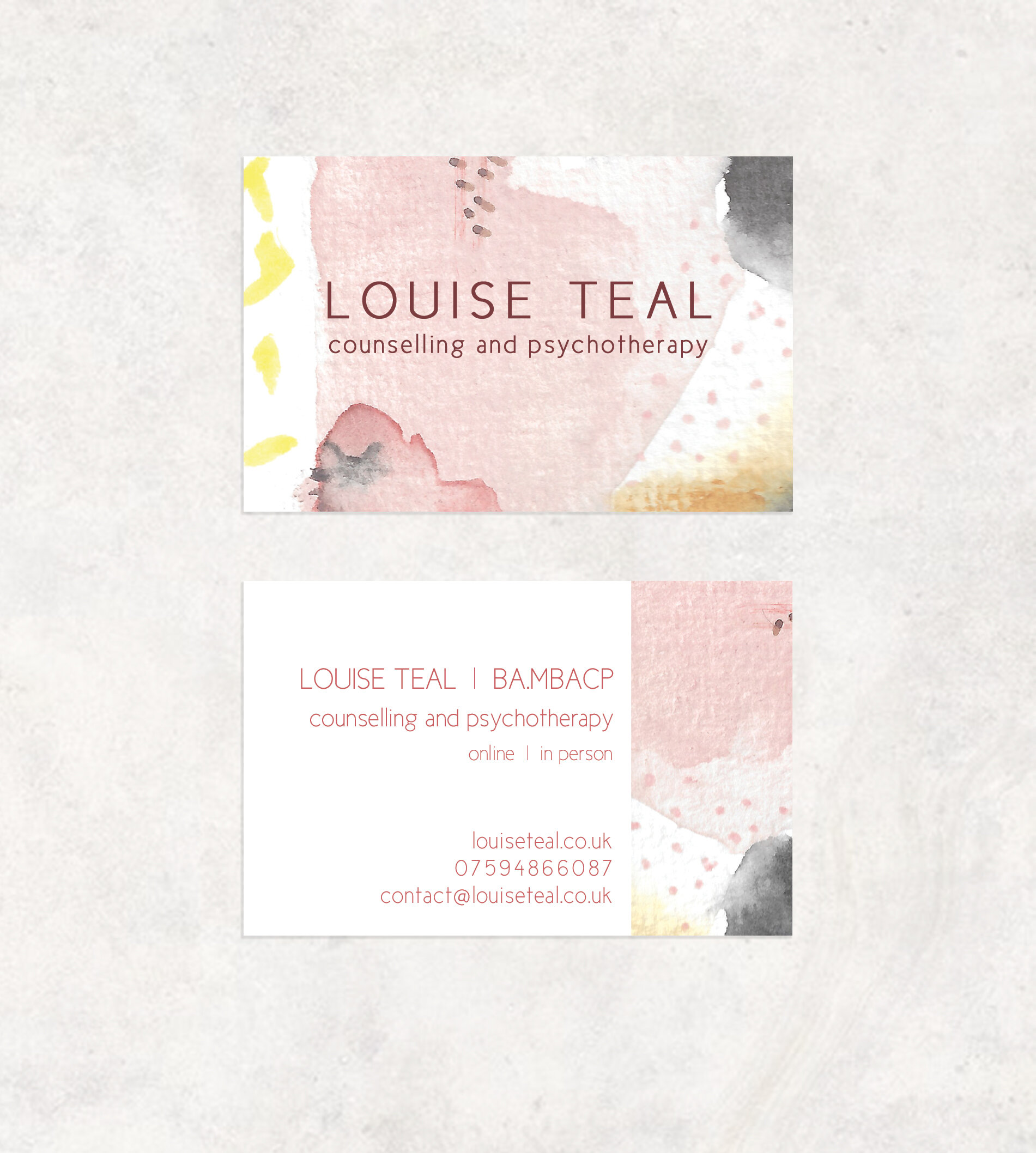 Business card design for Louise Teal