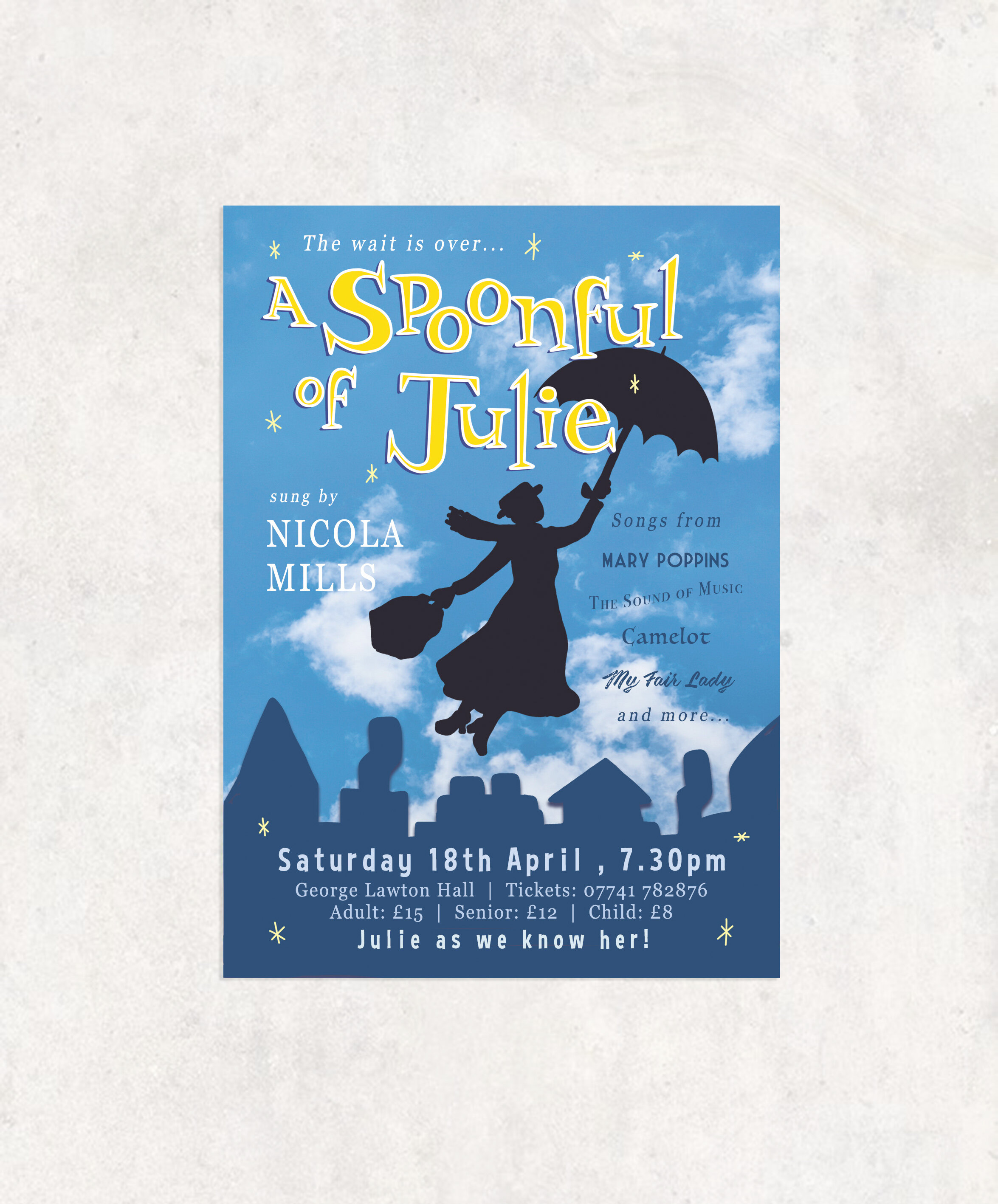 Poster and flyer design for Nicola Mills' show 'A Spoonful of Julie'