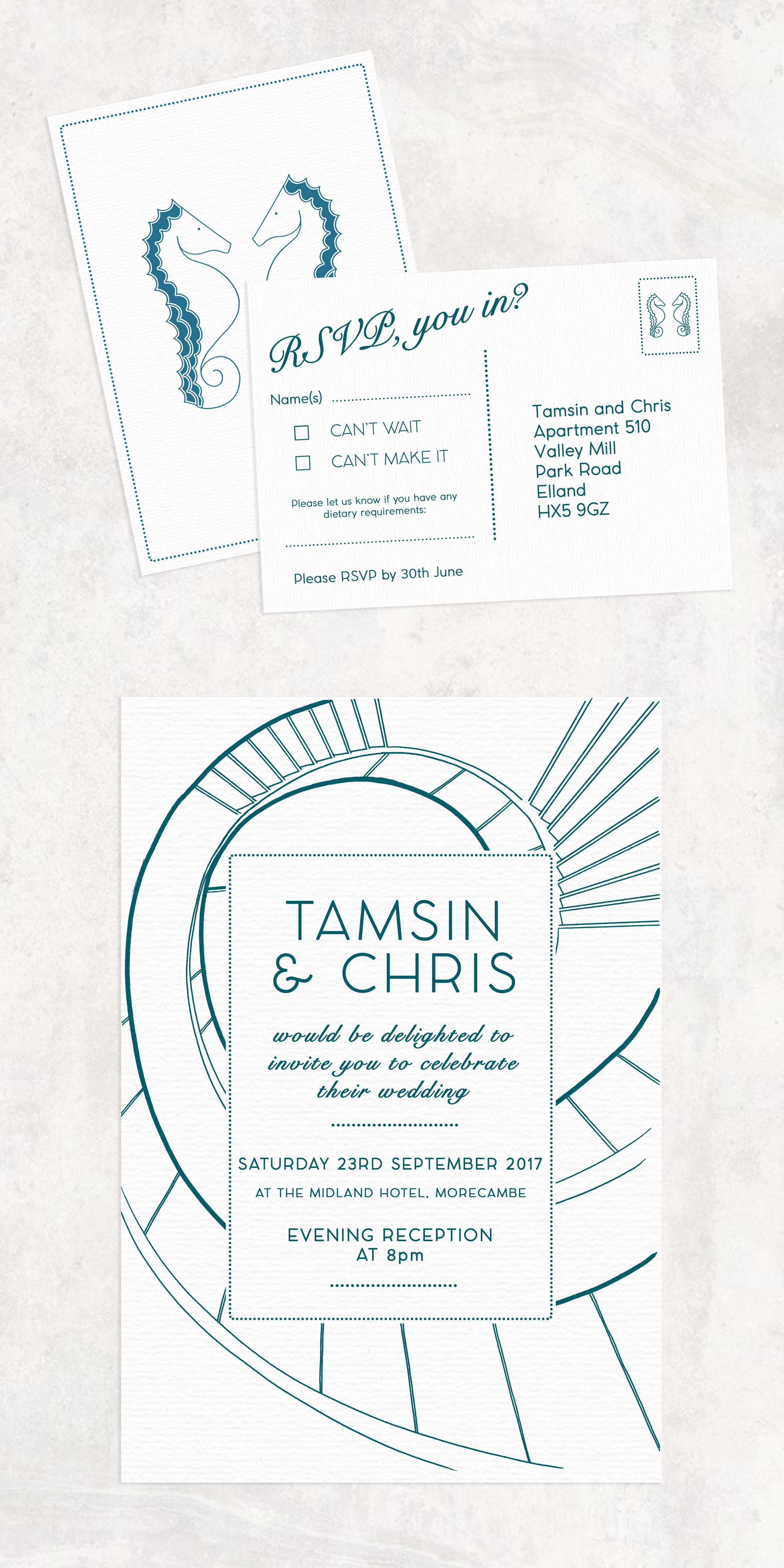Invitation suite for Tamsin and Chris