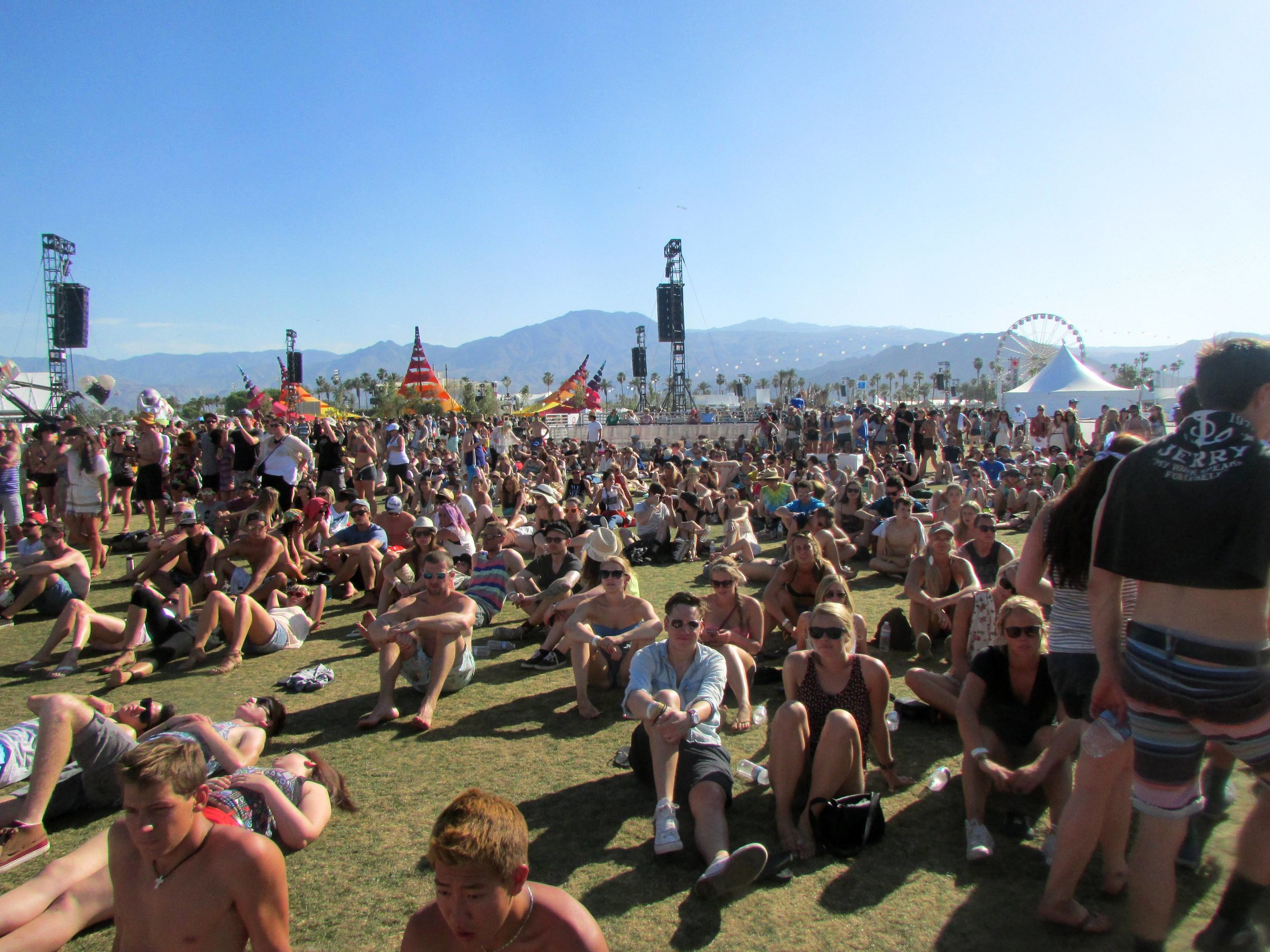 3 - Much of those in the crowd for Ben Howard at the Outdoor Theatre were relaxed and reclined.JPG