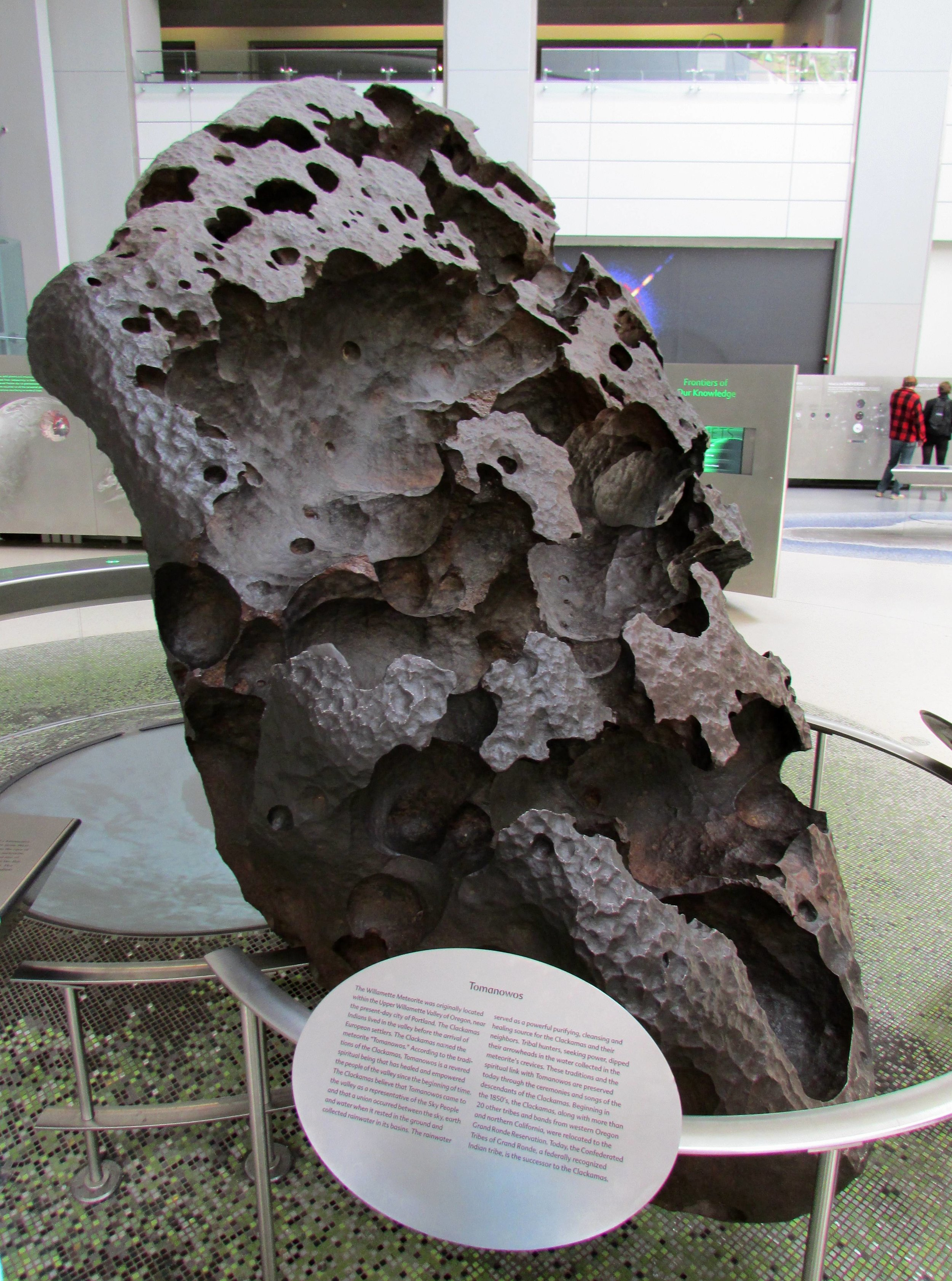 A real-life meteorite, as seen in the Rose Center for Earth and Space.
