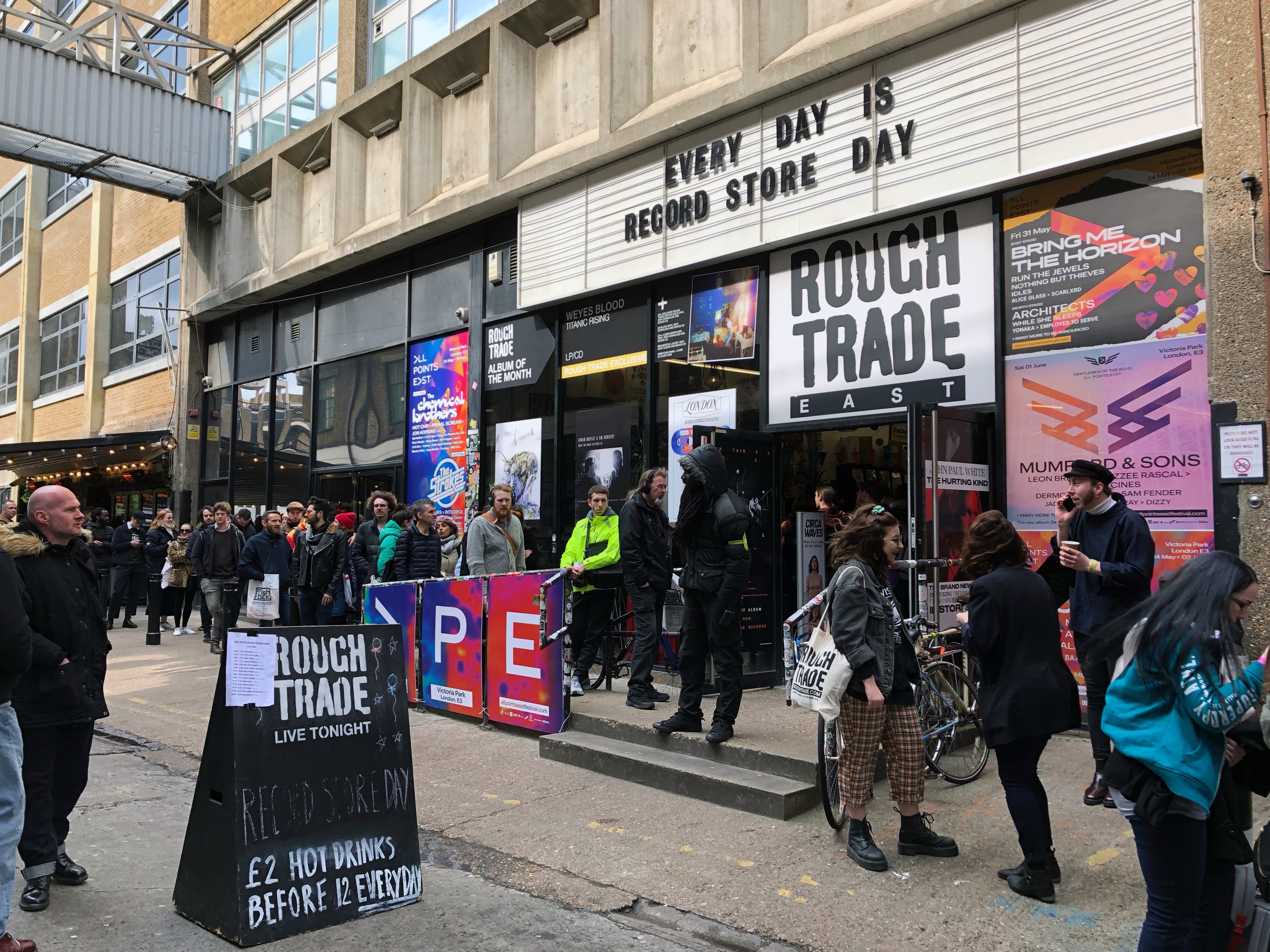 Entrance to Rough Trade East on Record Store Day 2019 - Shoreditch, London, UK.JPEG