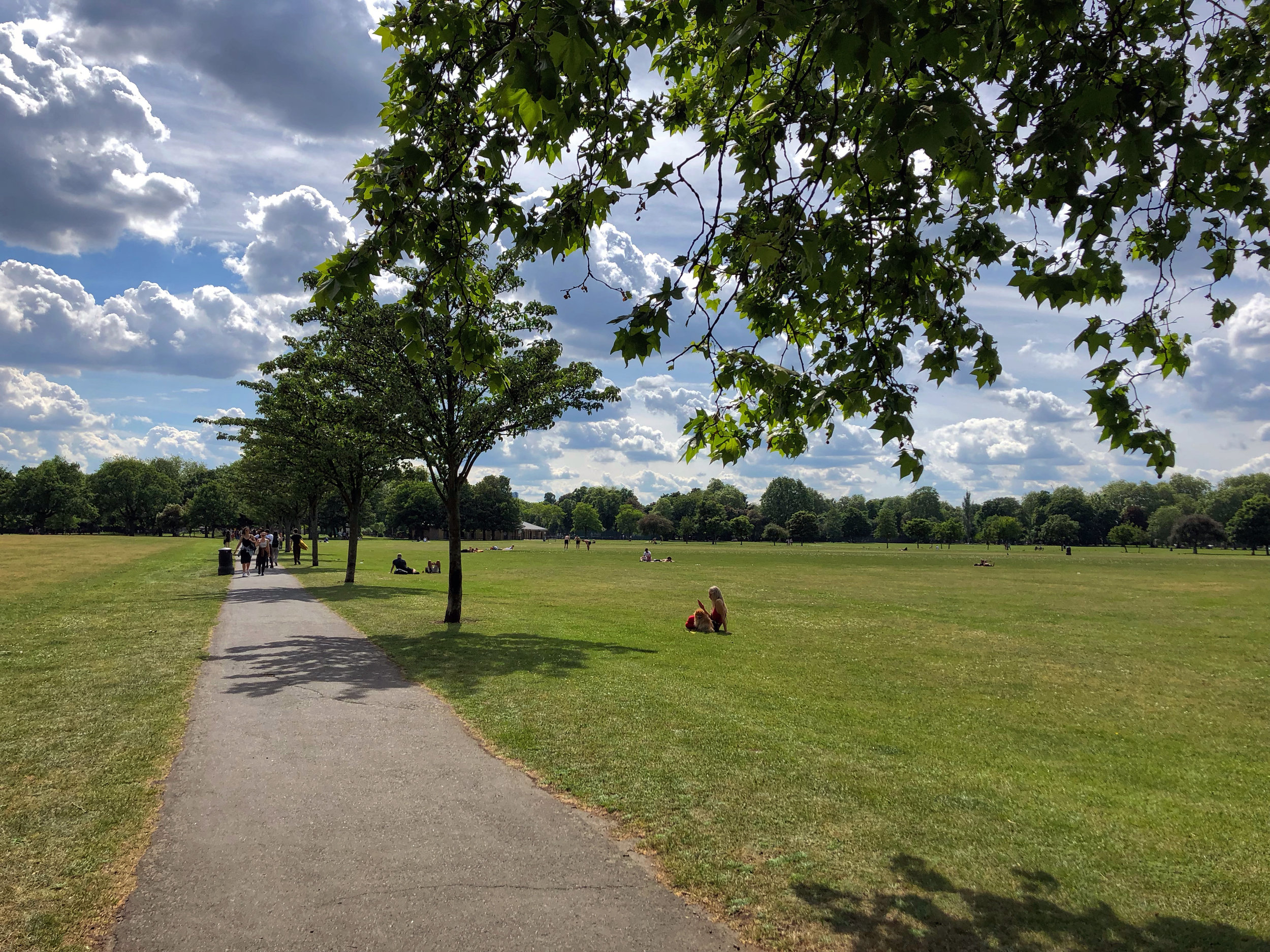 A quiet walk in the park. Victoria Park in London, UK - the site of All Points East music festival.