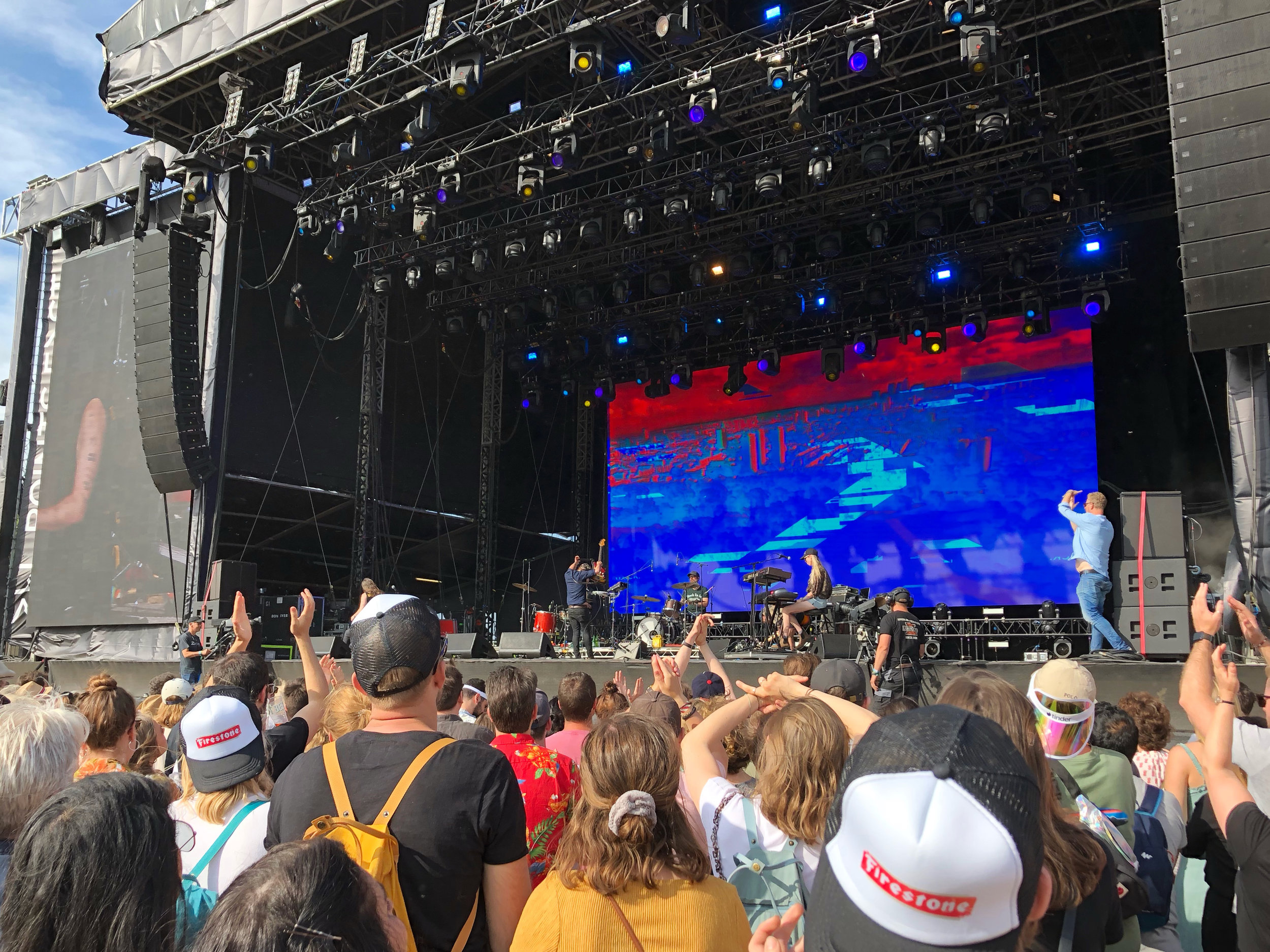 Time's up, time's up. Phosphorescent getting the call to cut it (as seen on the right) for their reshuffled set time on the main East stage at All Points East 2019