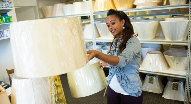 "Featured in  The Washington Post. "" At Gaylord's Lamps and Shades, staffers help fit your lamps to a new shade."" (Photo: Jason Hornick/For Express)"