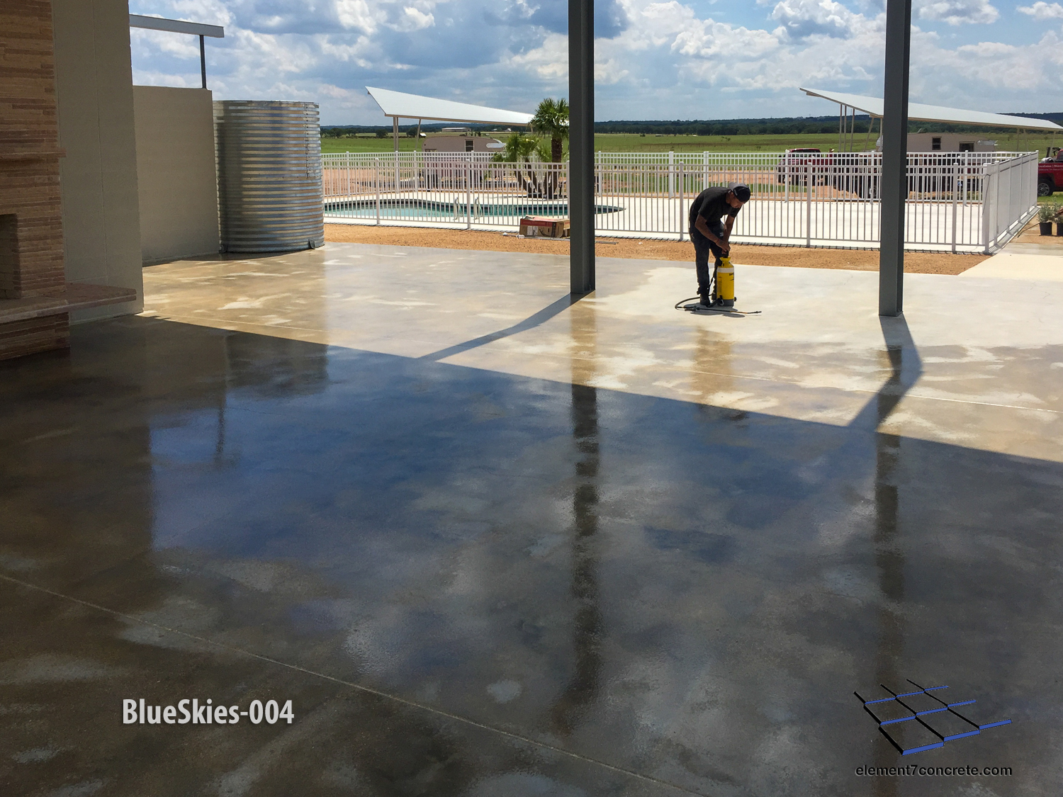 "This floor was acid etched in preparation of an acrylic film-forming sealer. Blue Skies Retro Resort is a vintage styled, Palm Springs inspired trailer resort featuring five 1961 Shasta re-issued trailers in the Texas Hill Country.""  Blue Skies"
