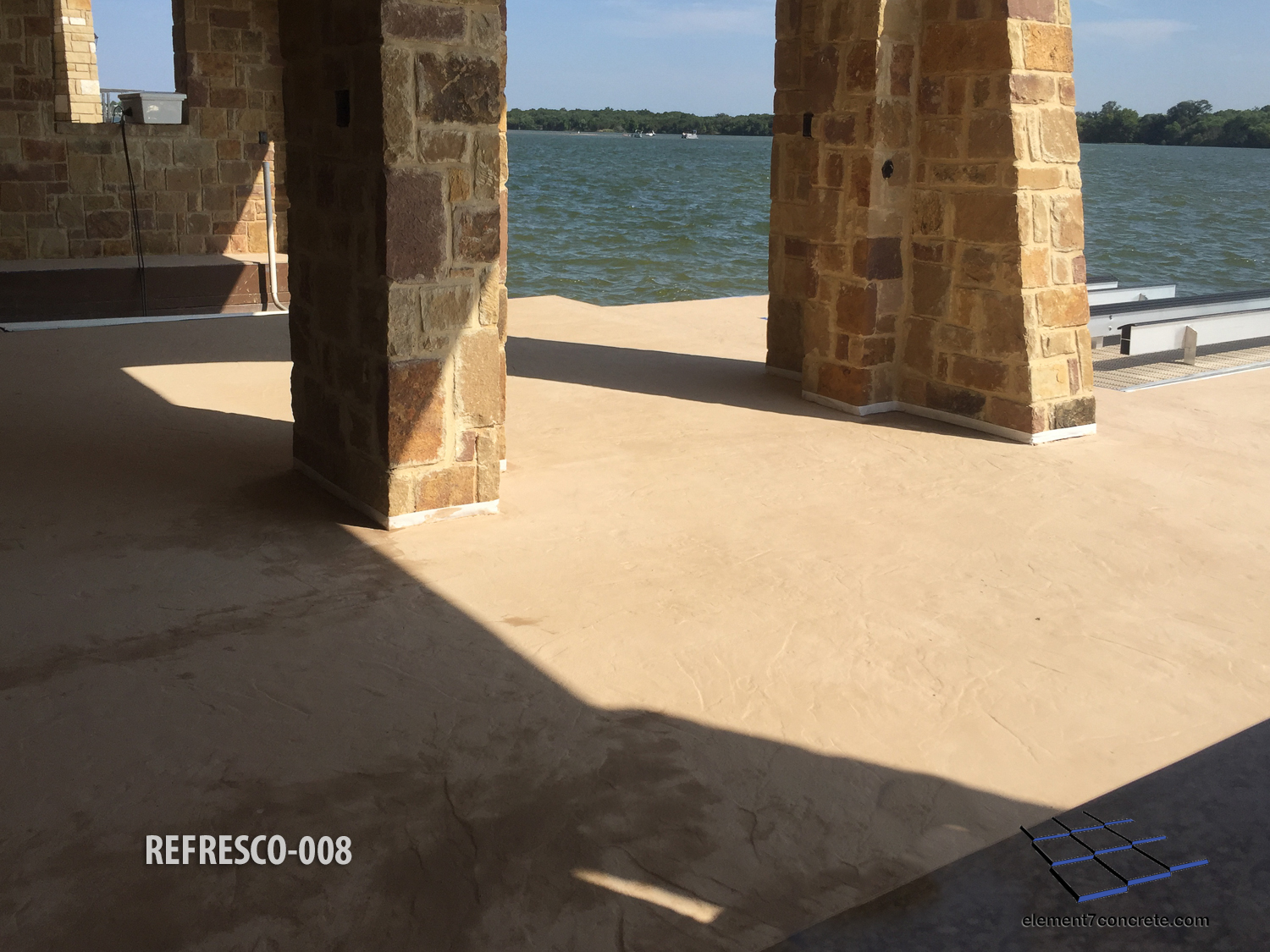 Lakefront Getaway - This is lakefront getaway flooded, and the overlay we installed four years ago took some abuse. We made it better than ever by installing ReFresco and staining it with Colina Tan Permatique.