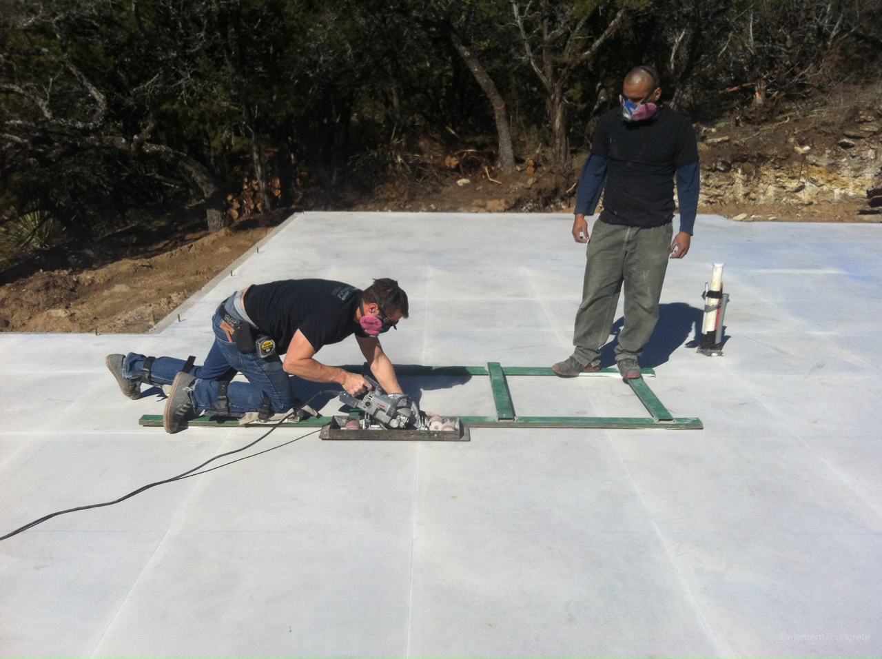 The concrete on a new slab is softer and ideal for scoring. -