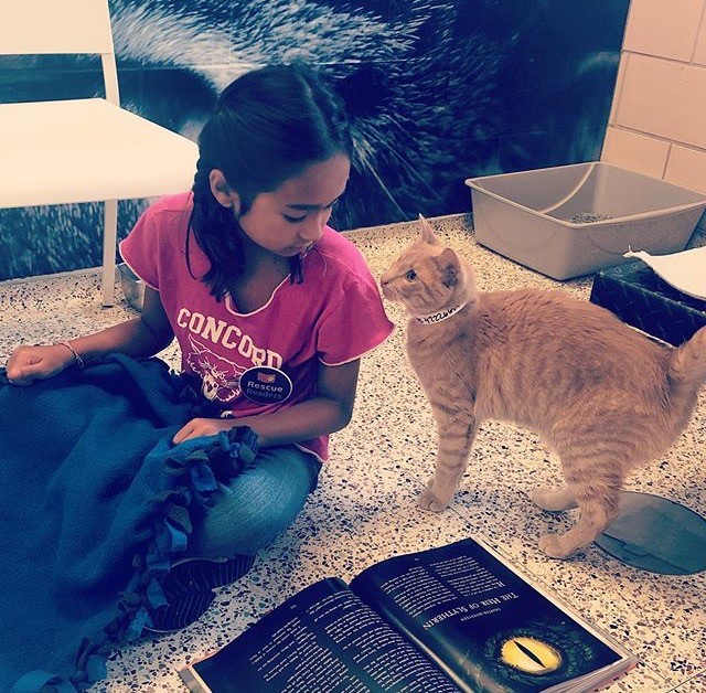 Roseanne's daughter volunteering as a Rescue Reader at the Humane Society. #bookclubgoals