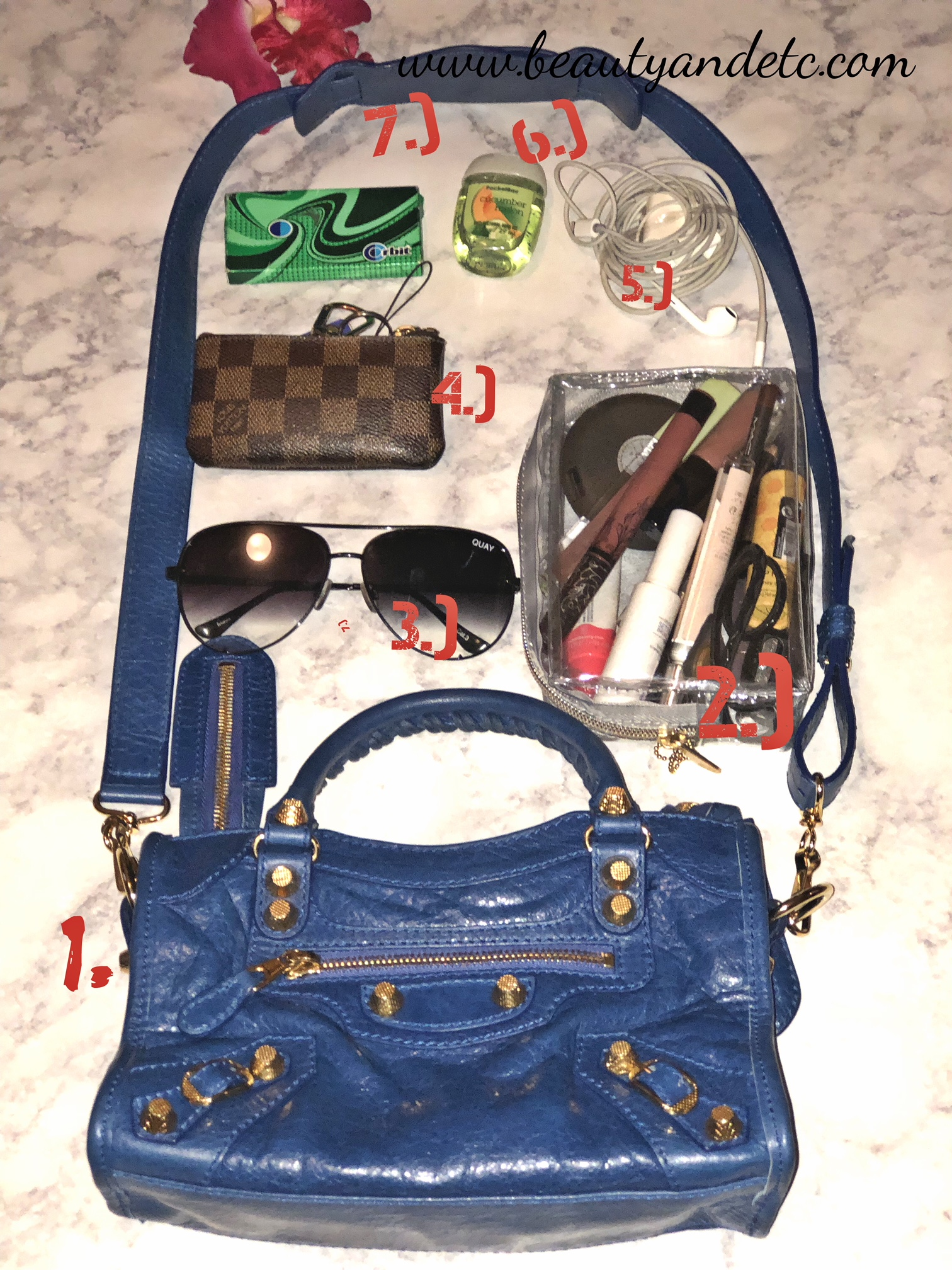 What's in my bag flatlay