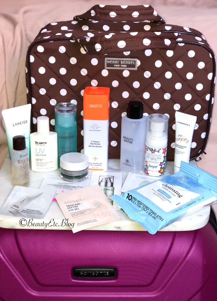 Travel Bag :  Henri Bendel  |  Luggage :  Samsonite  | Travel Skincare Products