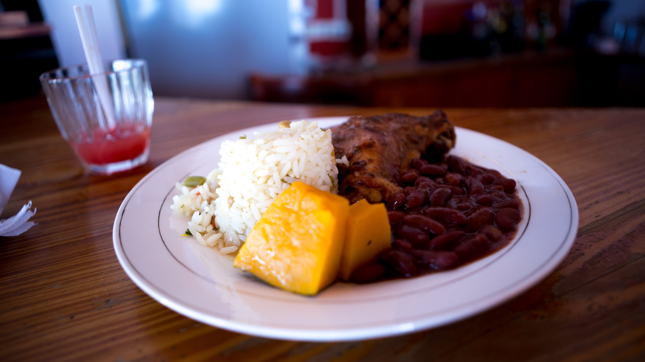 Caribbean Stewed Chicken With Red Beans And Rice, And Local Pumpkin!