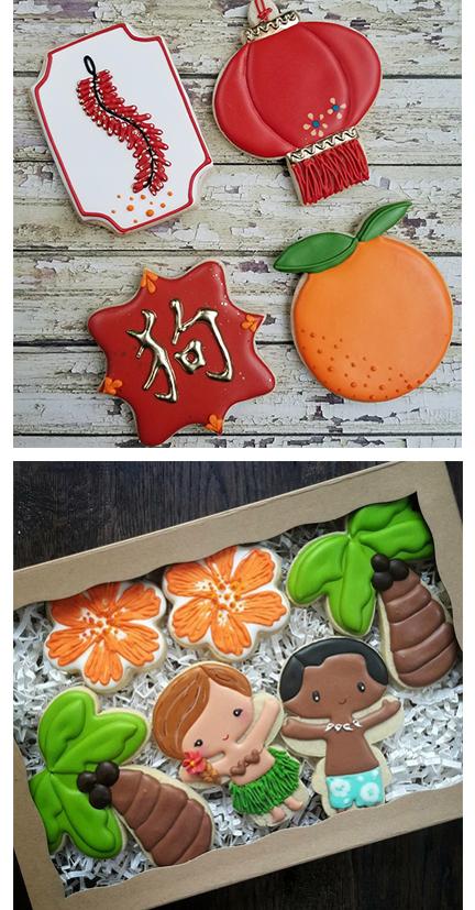 Seattle Custom Cookie Decorator, Chinese New Year Hawaiian Hula Boy Hula Girl.