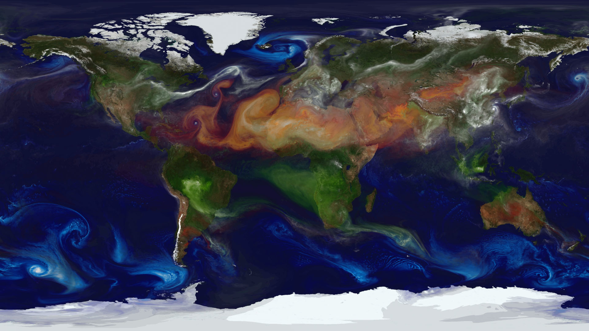 NASA models and supercomputing have created a colorful new view of aerosol movement. Source: https://svs.gsfc.nasa.gov/10977