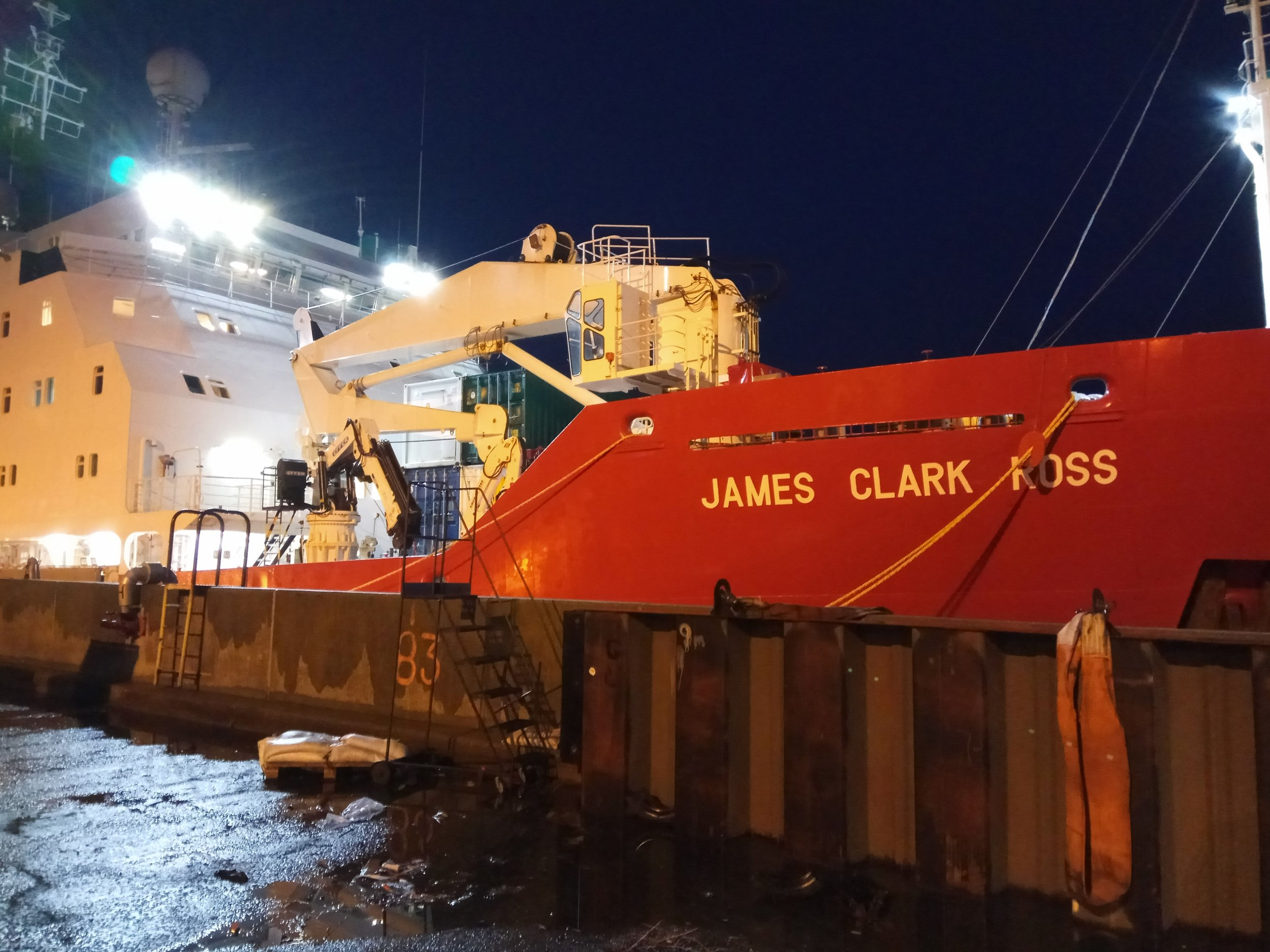 A nocturnal view of the RRV James Clark Ross before the departure.