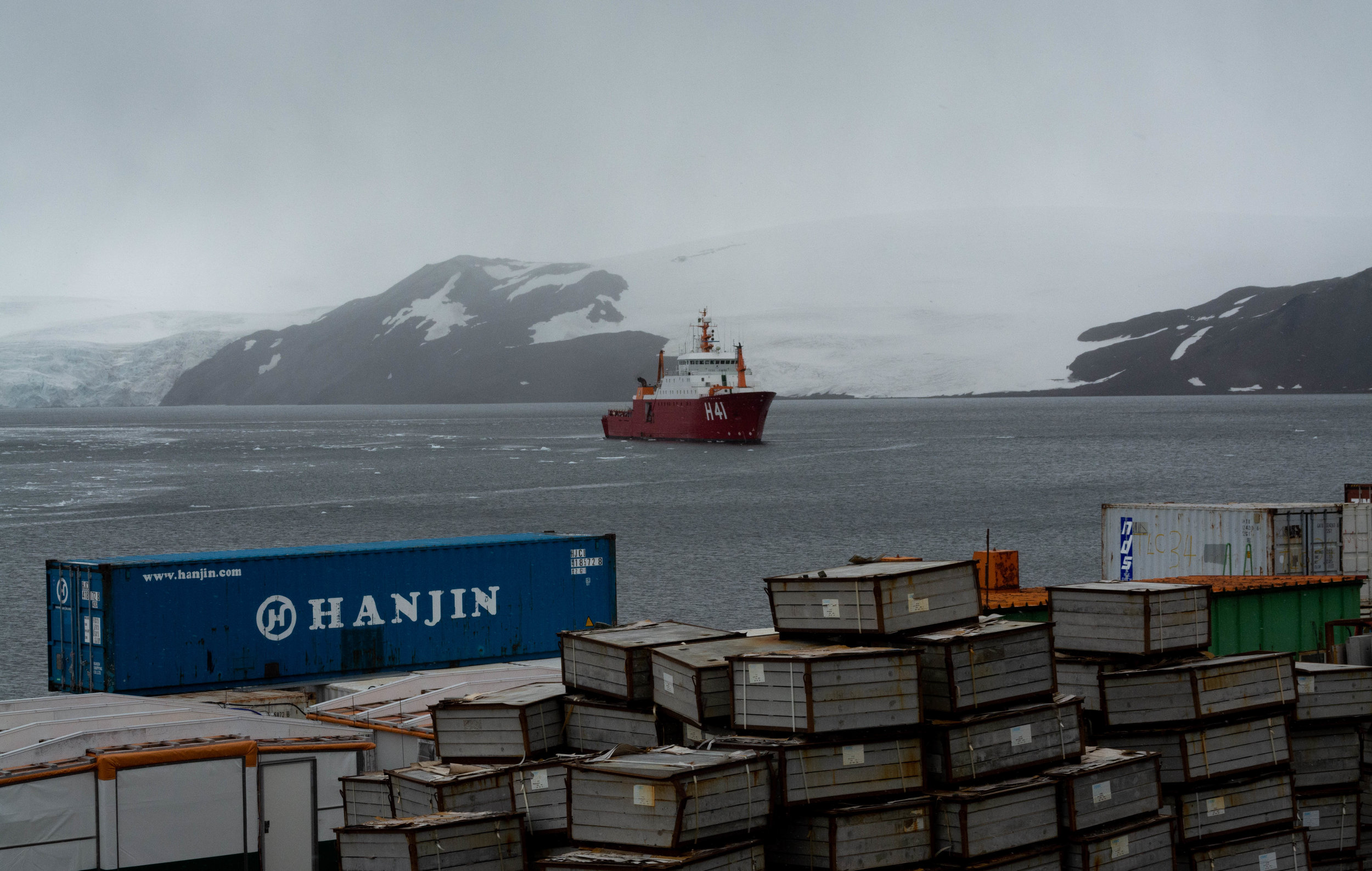 Polar Ship Admiral Maximiano sighted from the Antarctic station Comandante Ferraz.