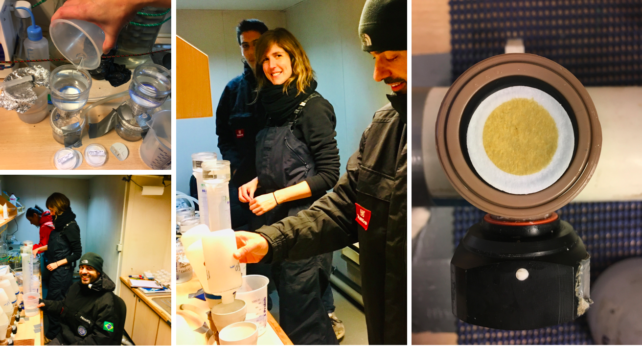 Some of us working at the phytoplankton lab (left) and a seawater filter sample collected from the surface of the ocean for further analysis of the phytoplankton communities (right).