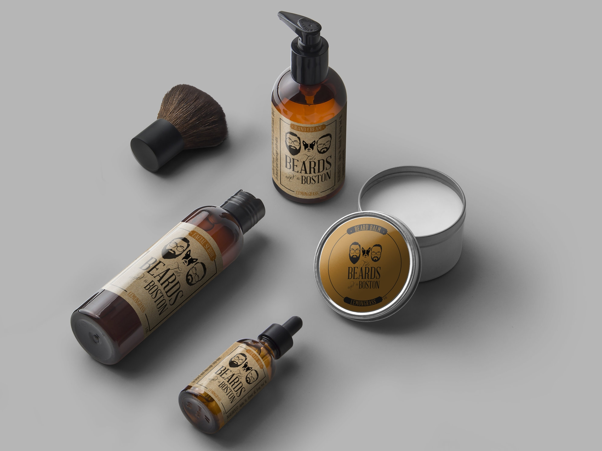 Two Beards and a Boston - Logo Design • Branding • Package Design