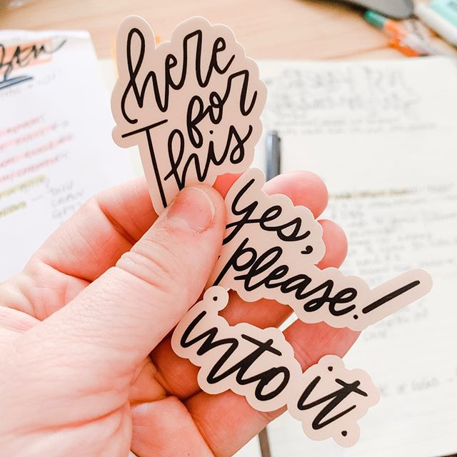 "These stickers might just be my favorite things I've made thus far. Because isn't ""here for it"" so much better than ""out on that""? Focus on the good and it's amazing what all you'll find to focus on. (She tells herself, again.) ⠀⠀⠀⠀⠀⠀⠀⠀⠀ — ⠀⠀⠀⠀⠀⠀⠀⠀⠀ What are you saying ""Yes please! Here for this! Into it!"" to these days?"