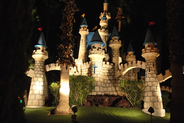 Our mini golf castles at night.