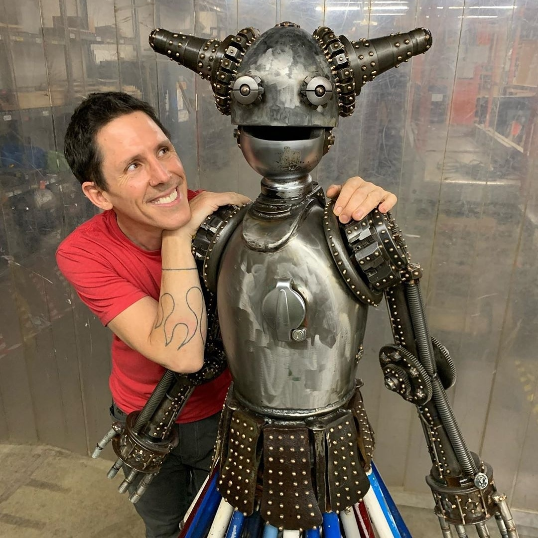 Somerville Sculptor, Kirk Tegelaar aka 'Skunk' pictured with Dyanna, Titan Class Astrobot T3668