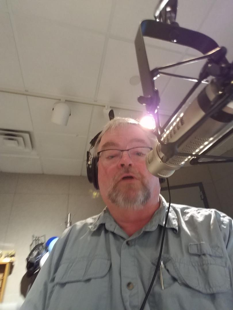Author David Reichenbaugh in the recording studios of I-Heart Radio