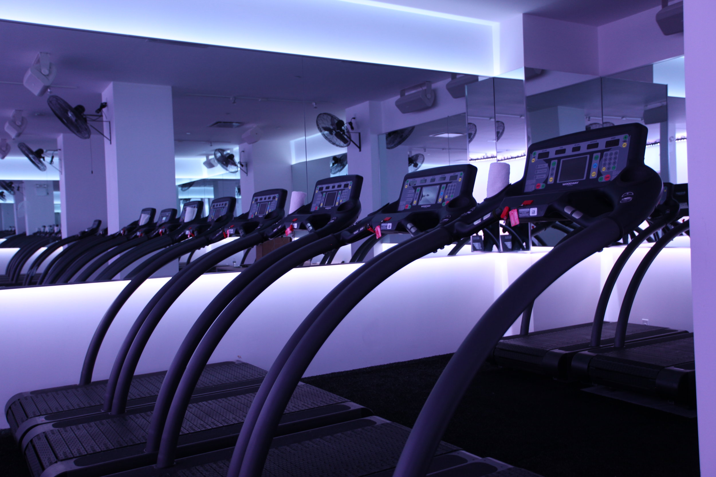 Dim purple lighting in the studio of the Mile High Run Club with multiple treadmills arranged side by side. MEP provided by 2L Engineering.