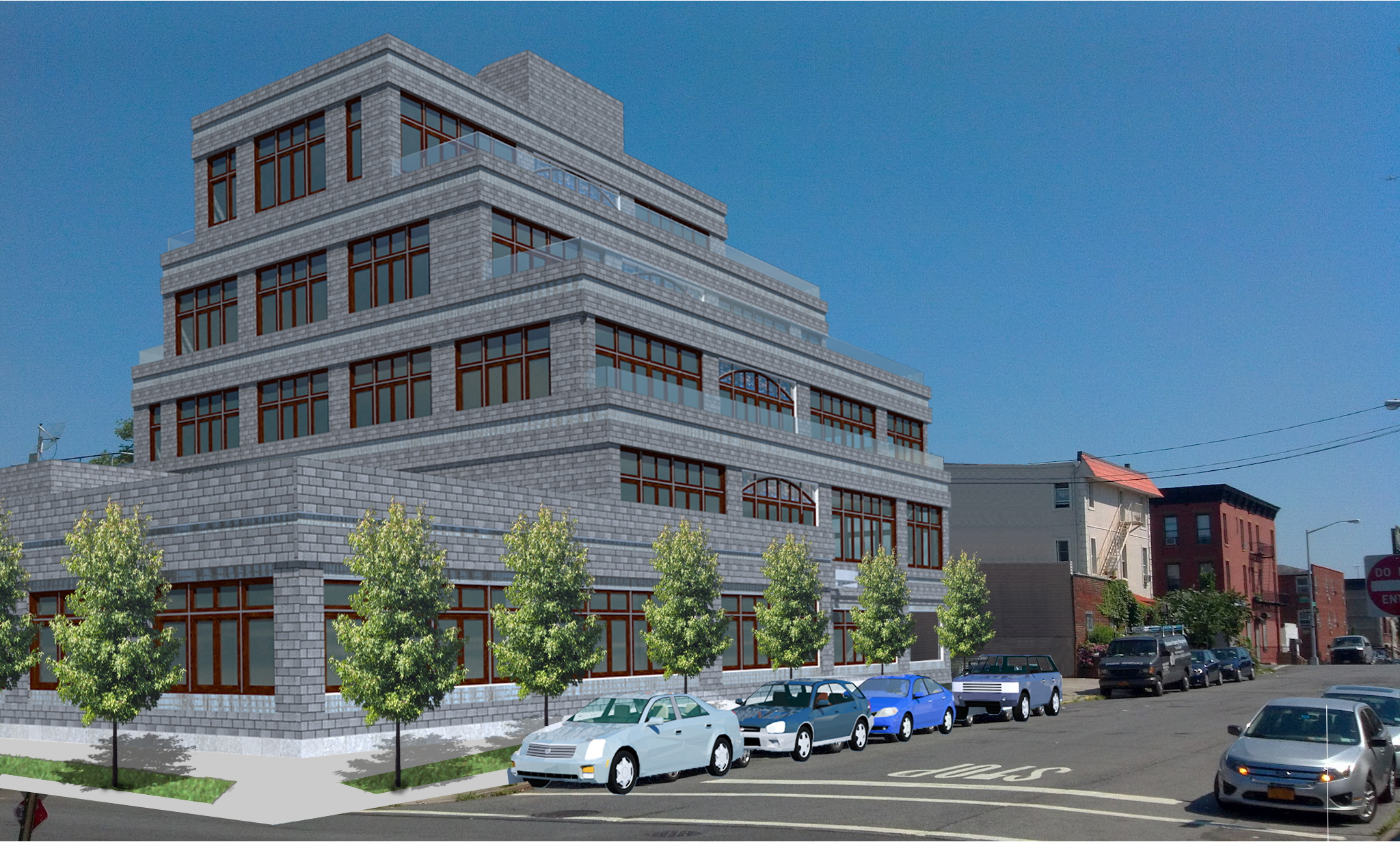 Exterior rendering of the Desales building in Brooklyn, consisting of four floors and a cellar level with broadcast studios, a control room, and an office space. MEP by 2L Engineering