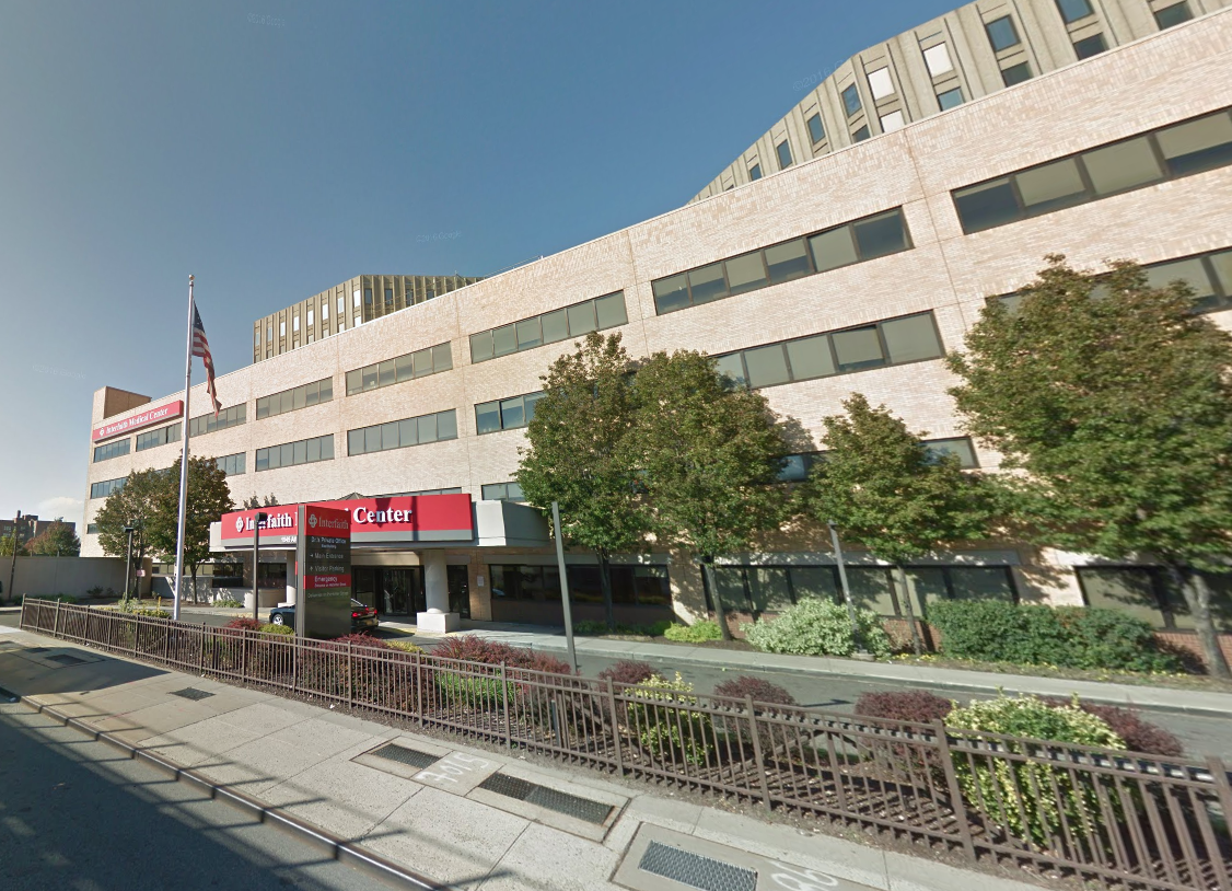 American flag outside the Interfaith Medical Center in Brooklyn New York. MEP designed by 2L Engineering.
