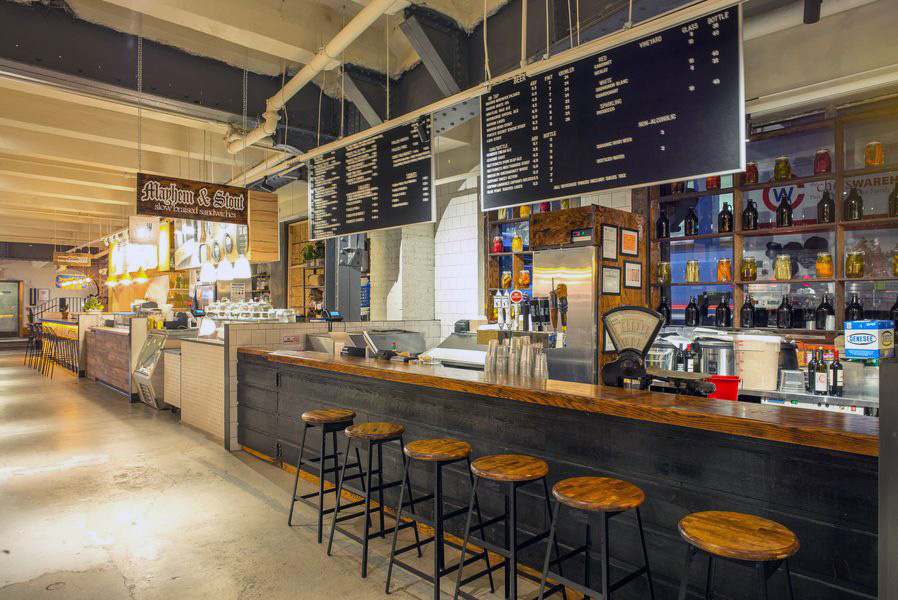 Mayhem and Stout's rustic counter-served eatery in Urbanspace Vanderbilt, with MEP designed by 2L Engineering.