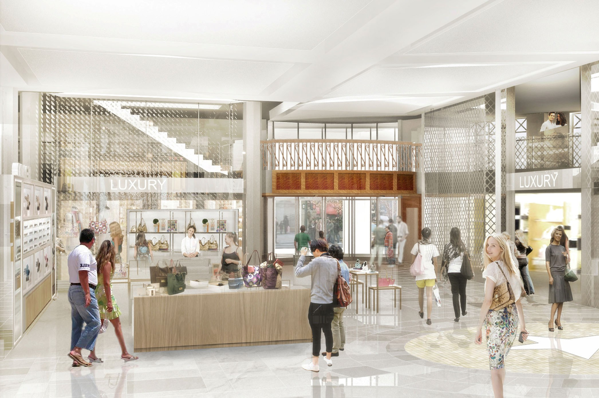 Rendering of people shopping in Macy's Herald Square, New York. MEP design services by 2L Engineering.