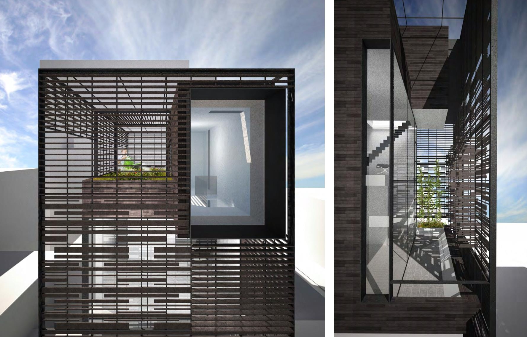 Detailed renderings of the porous trellis system that allows light to filter into the townhouse while also providing privacy for the family. MEP by 2L Engineering..