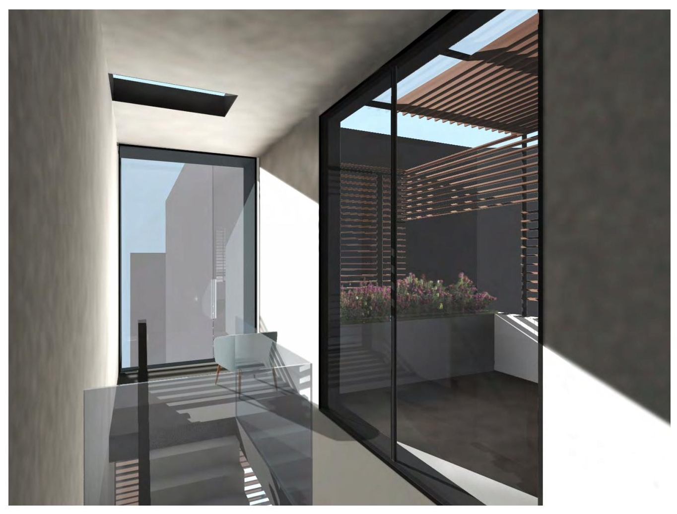 Renderings of light filtering into the top floor of a luxury residential home. MEP by 2L Engineering.