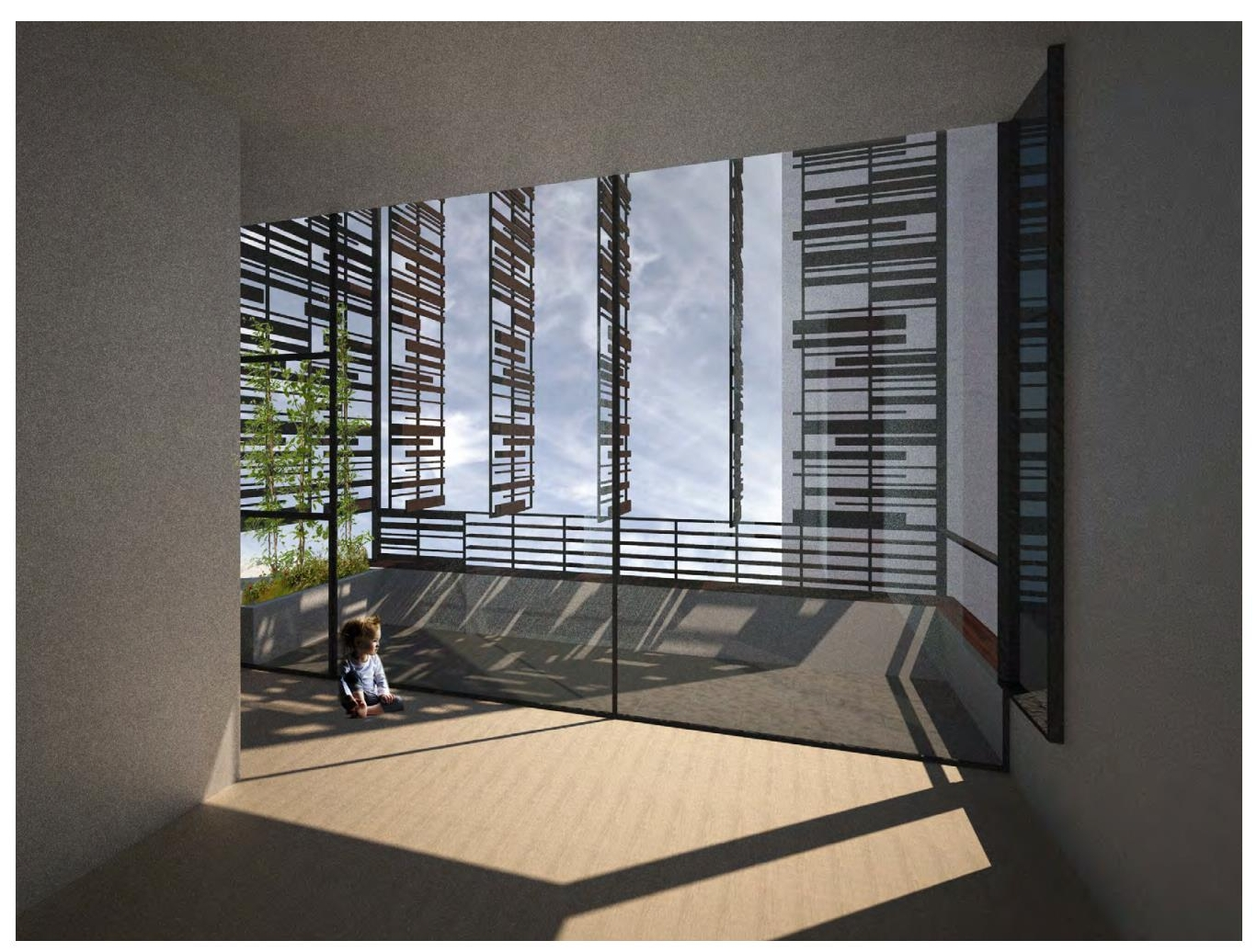 Rendering of a baby looking out windows leading to a private balcony featuring a porous trellis system with operable openings for privacy. MEP by 2L Engineering..