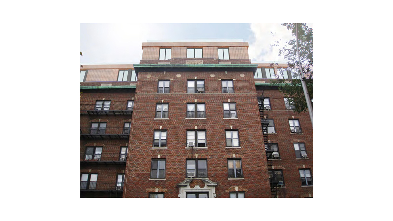 Front view of the exterior brick walls of 31 Ocean Parkway, a residential building in Brooklyn with MEP designed by 2L Engineering.