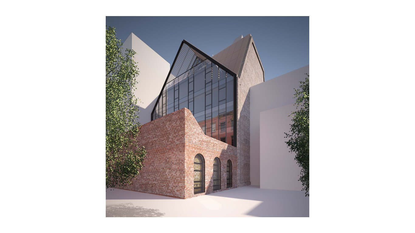 Rendering of the back area of Mt Pleasant Church with trees on a sunny day. MEP designed by 2L Engineering.