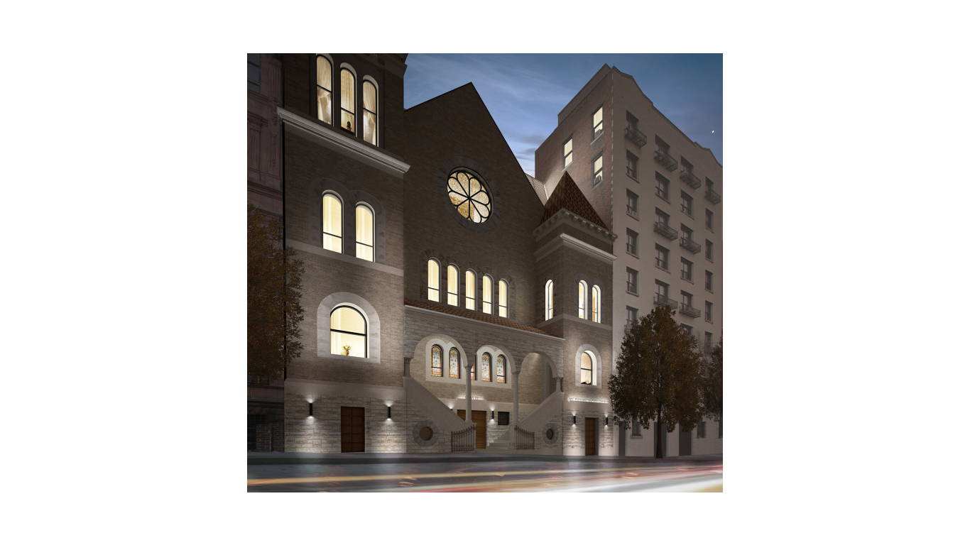 Nighttime rendering of Mt Pleasant Church exterior view in New York. MEP provided by 2L Engineering.