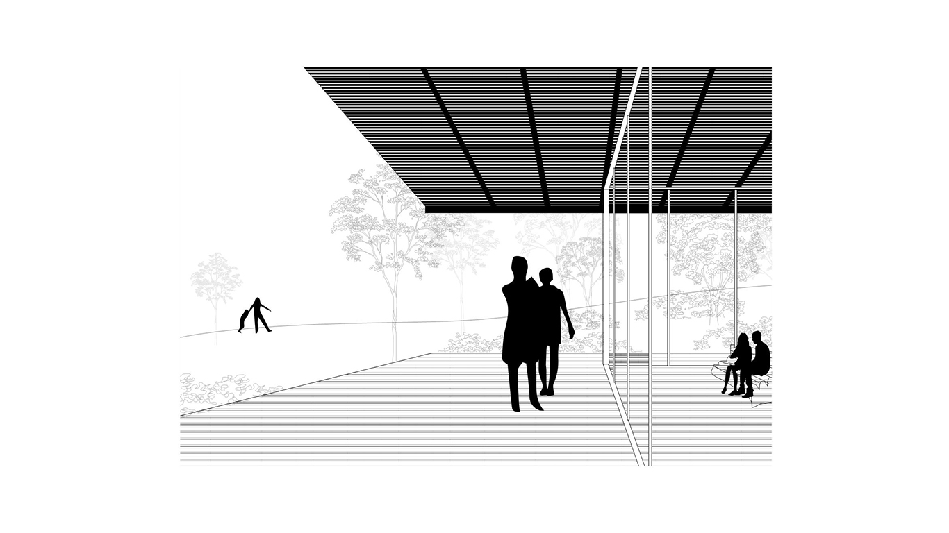 Illustration of silhouette people on the porch of a home in Long Island. MEP provided by 2L Engineering.
