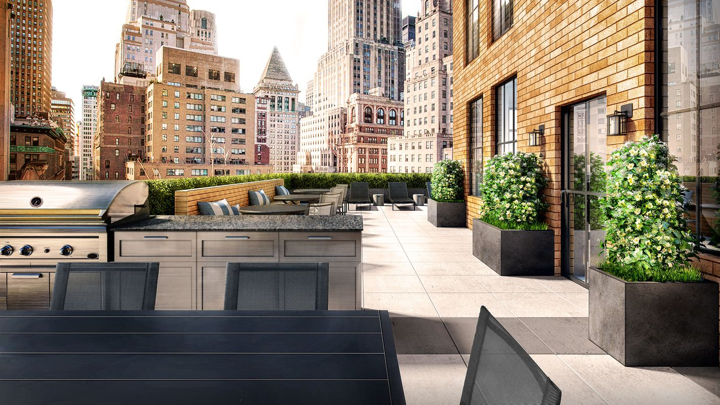Rendering of an outdoor patio area with plants and a grill in a luxury apartment building overlooking the New York skyline. MEP designed by 2L Engineering.