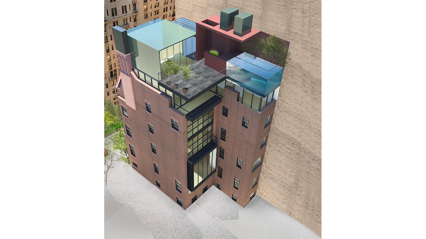 Birds eye view of the exterior of a queen anne style upscale townhouse for a single-family on the Upper East Side. MEP by 2L Engineering.