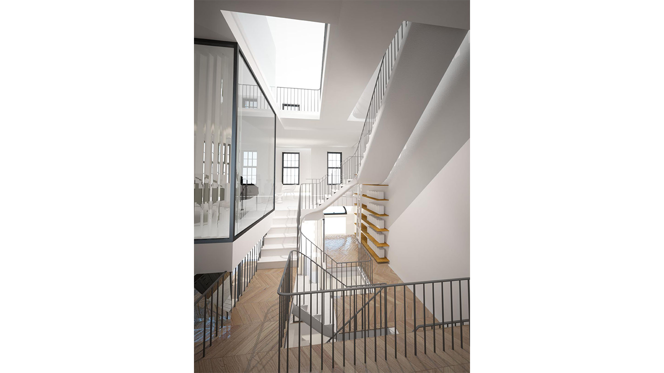 Staircase and railing renderings of the interior of a luxury townhouse on the Upper East Side in New York. MEP by 2L Engineering.