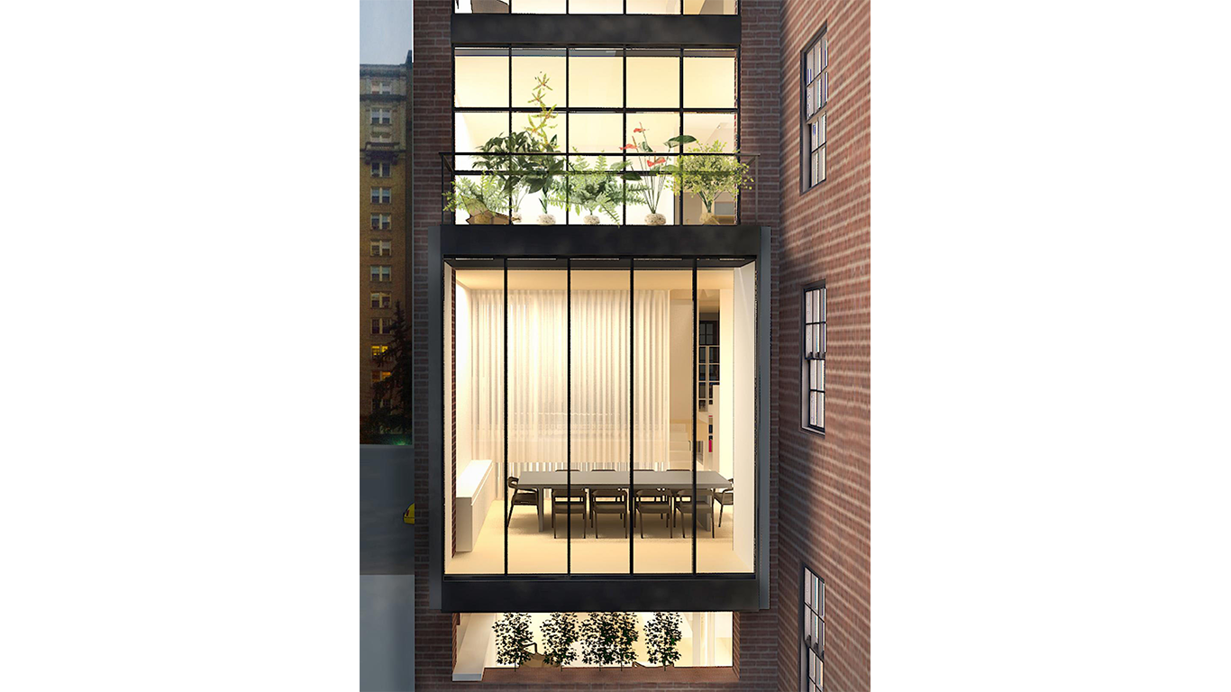 Rendering of the exterior side of floor to ceiling windows in an upscale Manhattan townhouse located on the Upper East Side. MEP by 2L Engineering.