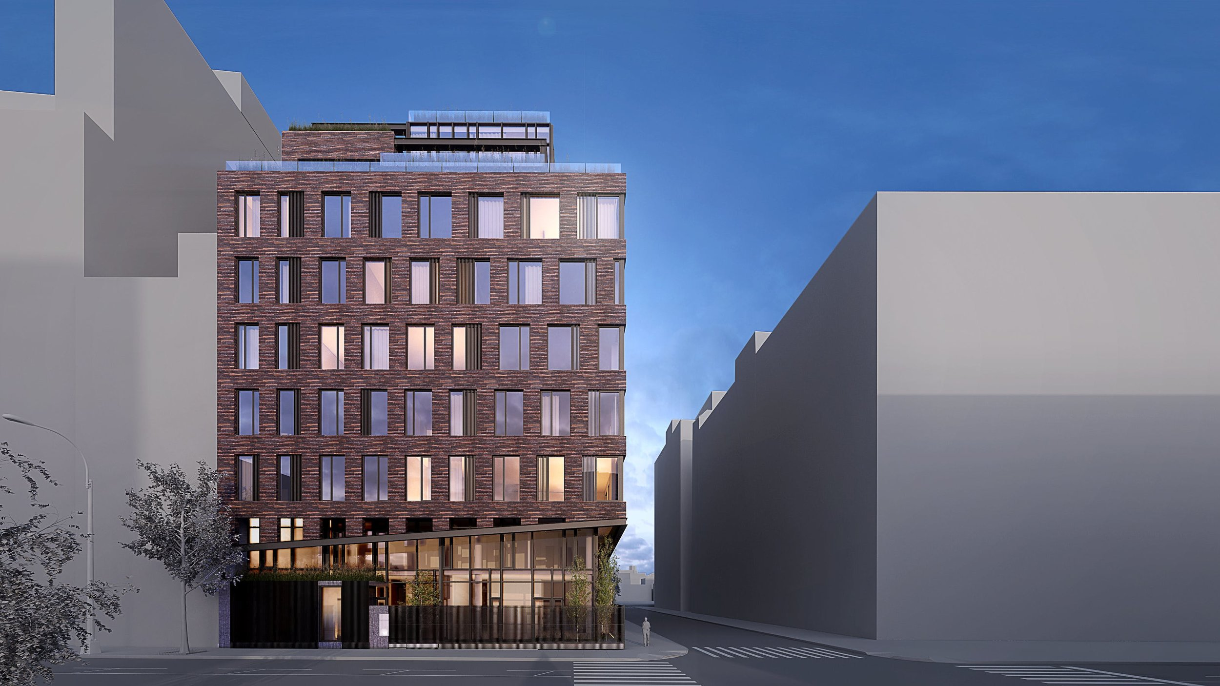 Rendering of residential building located on the corner of a street in the West Village. MEP designed by 2L Engineering.